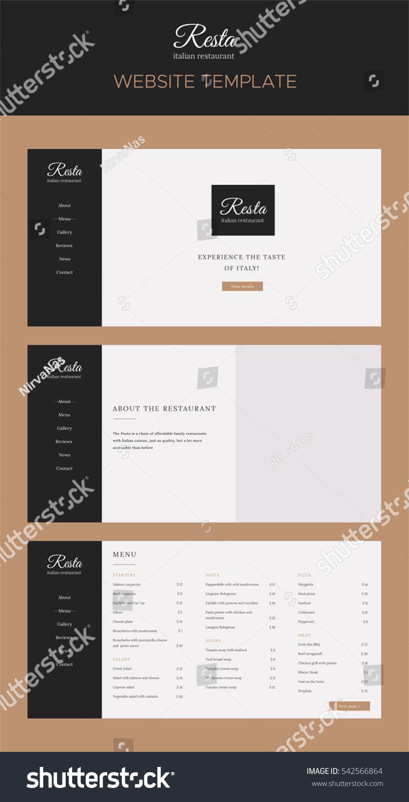 Modern Website Template Restaurant Flat Simple Stock Vector Royalty