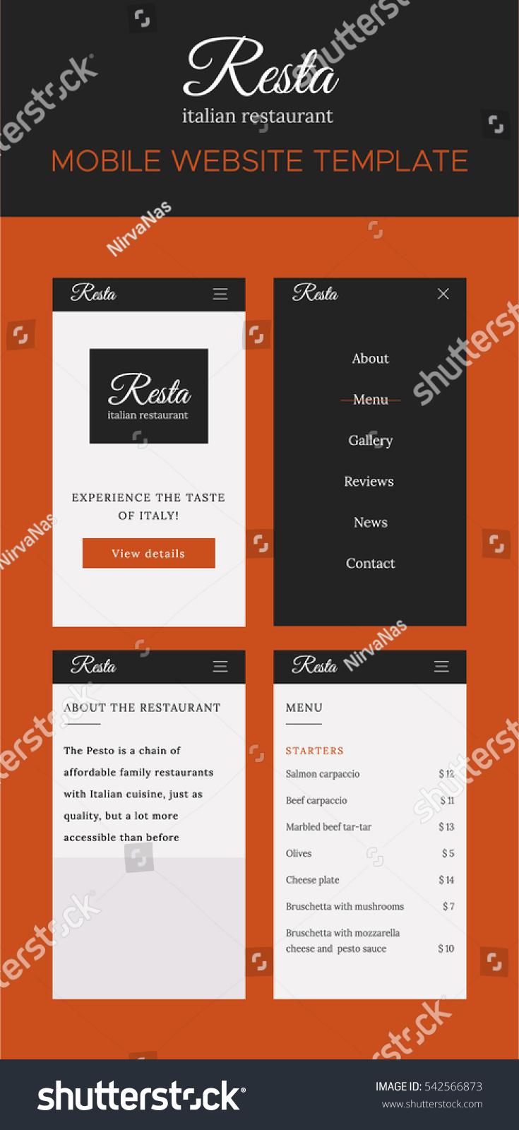 Flat Design Ui Mobile Website Template Stock Vector Royalty Free