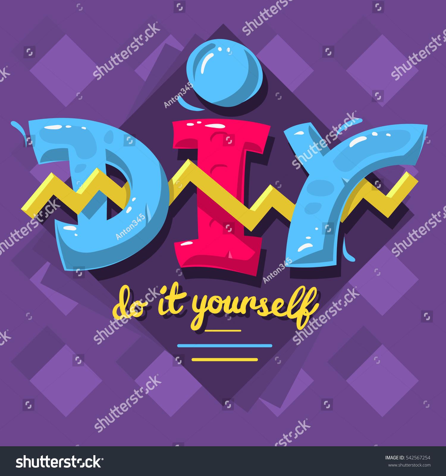 diy acronym do yourself 90s vibrant stock vector 542567254