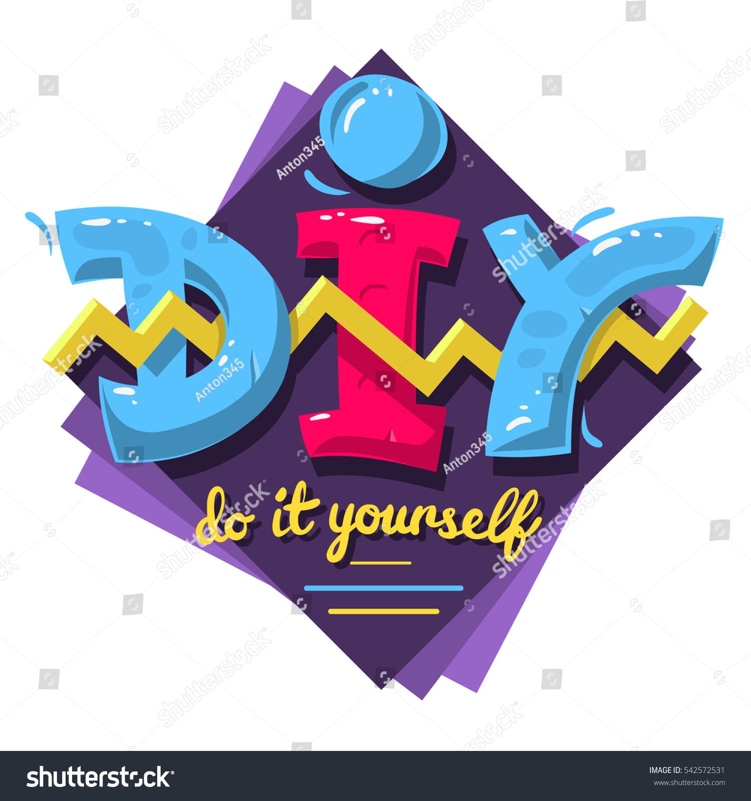 Diy acronym do yourself 90 s vibrant stock vector 2018 542572531 diy acronym do it yourself 90s vibrant colors aesthetic type label design on a solutioingenieria Gallery