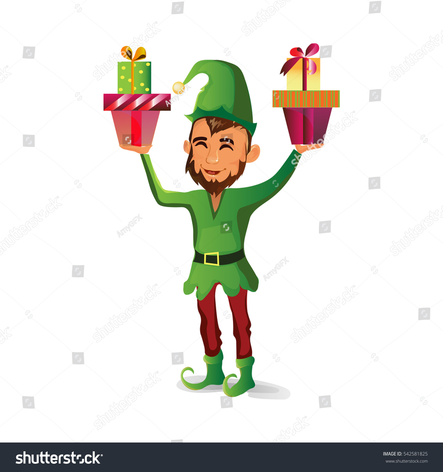 f82733dc13268 Beautiful Elf Beard Holds Two Gifts Stock Vector (Royalty Free ...