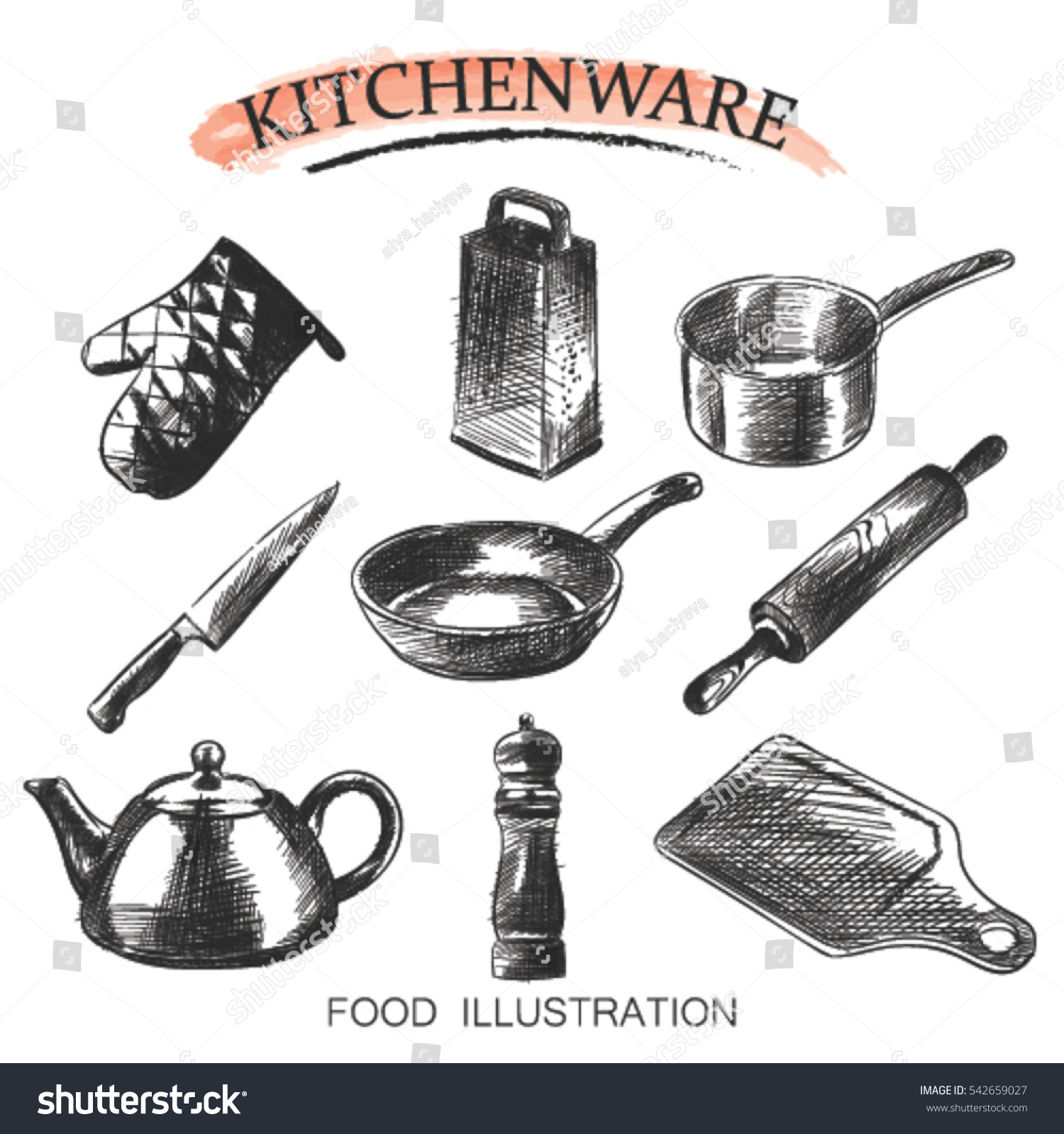 Vector Set Hand Drawn Illustration Kitchen Stock Vector