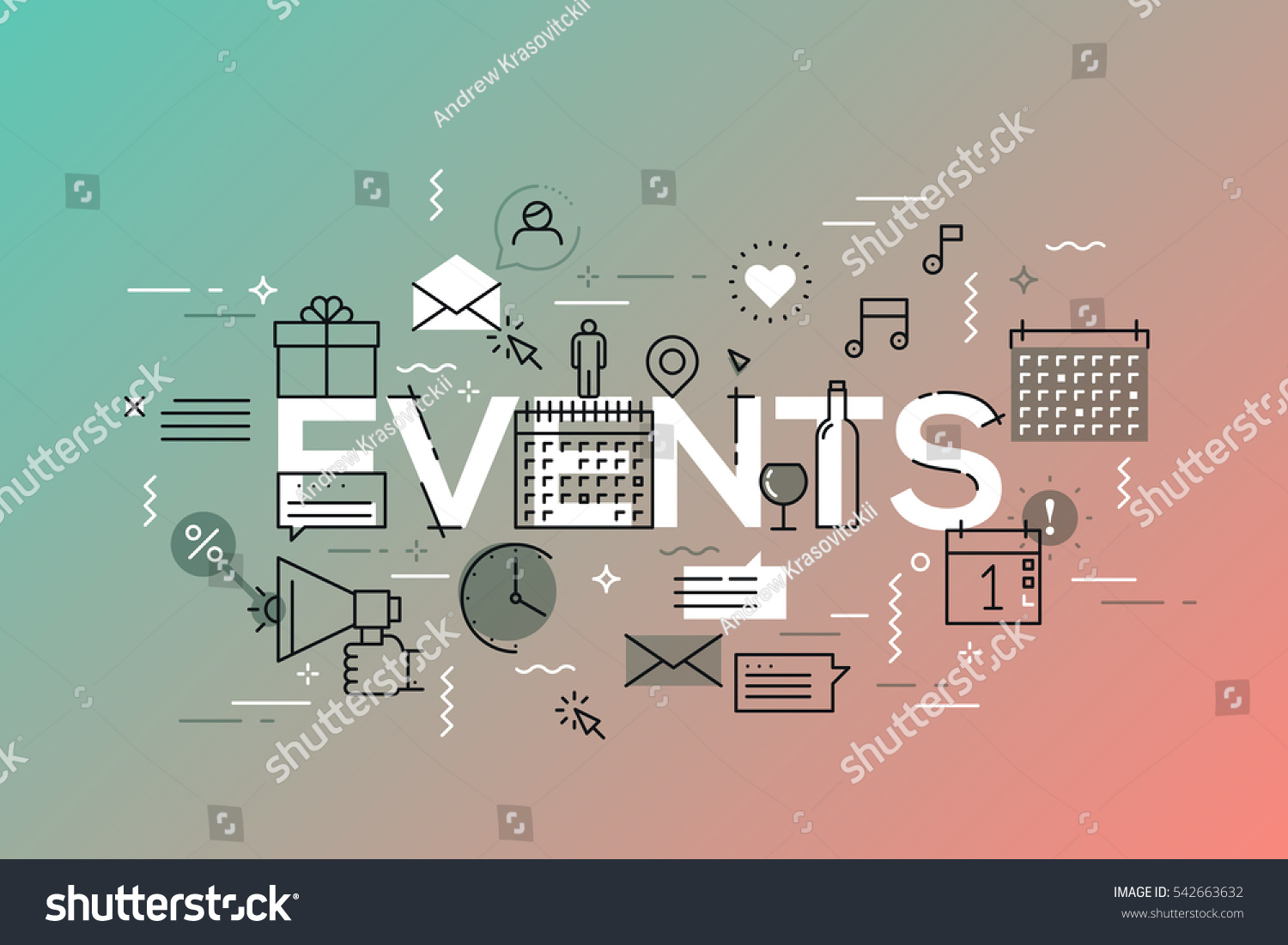 Thin Line Flat Design Banner Events Stock Vector 542663632