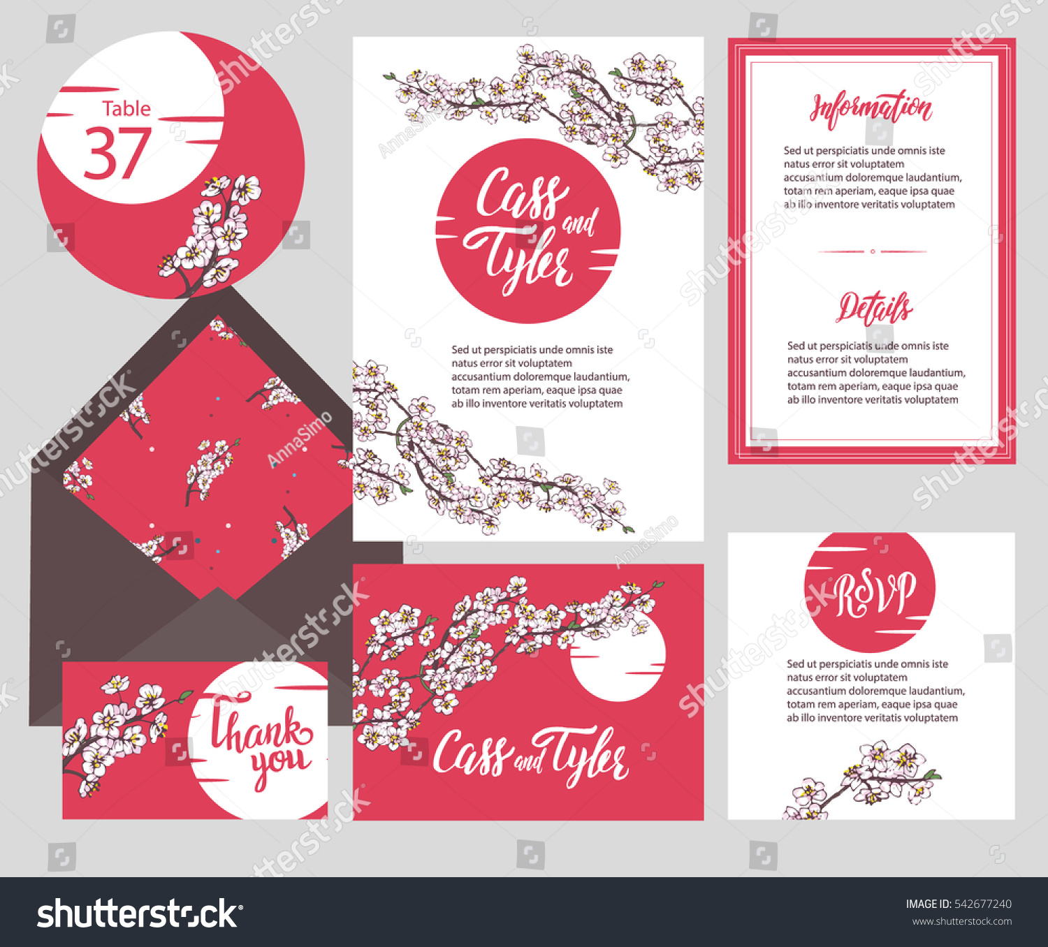 Set Templates Wedding Invitation Postcard Information เวกเตอร์สต็อก ...