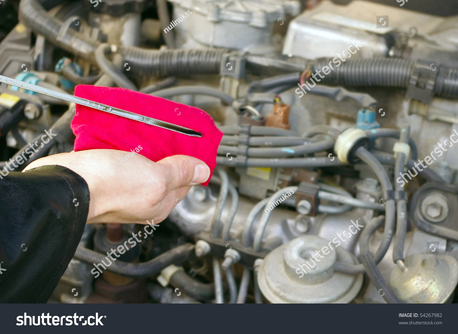 Checking Engine Oil Dipstick Car Stock Photo 54267982