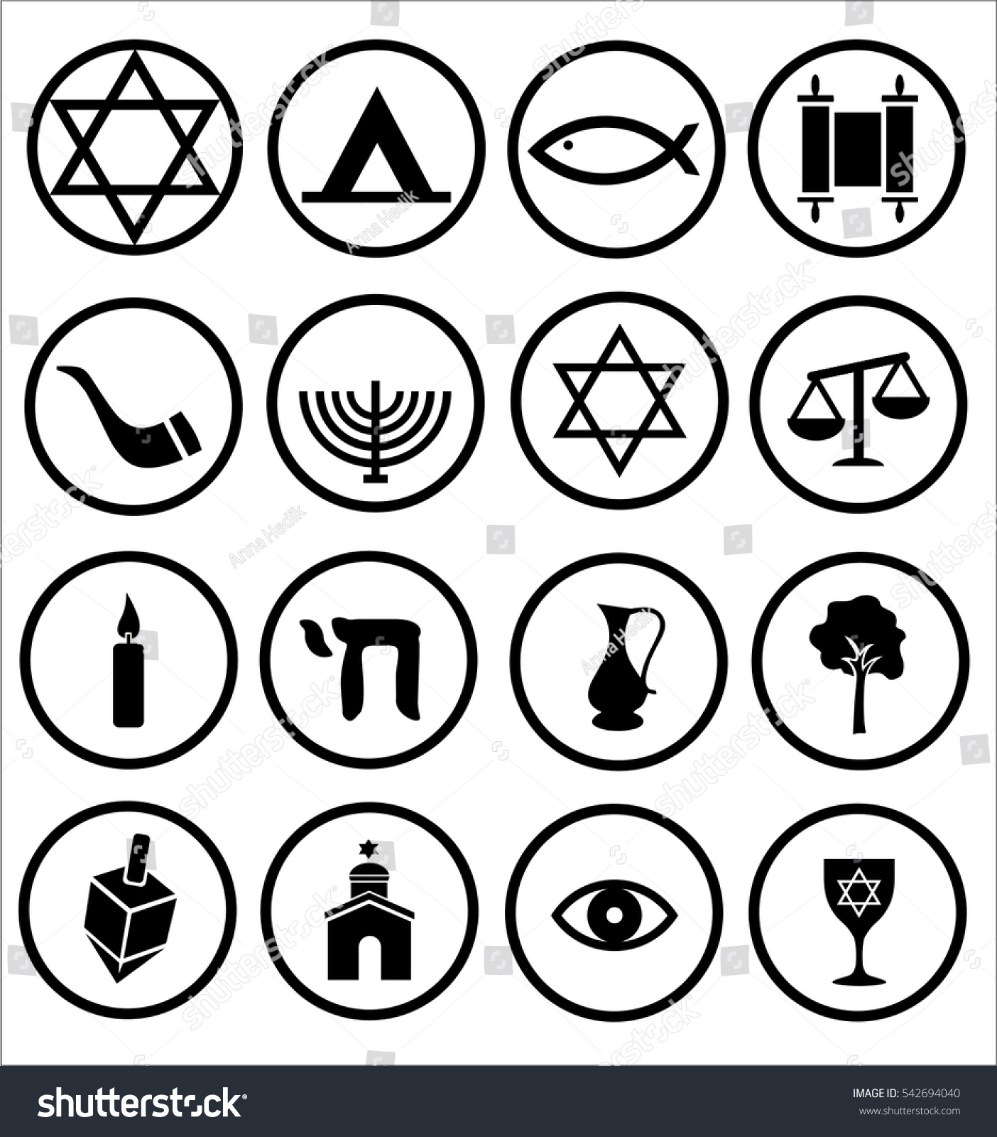 Jewish Religious Icons Vector Symbols Black Stock Vector Royalty