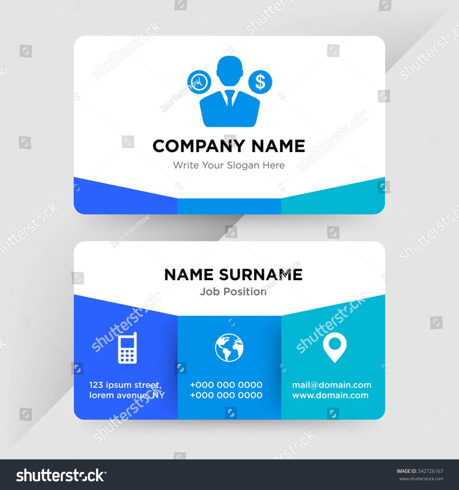 Template Business Card Management Company Blue Stock Vector (2018 ...
