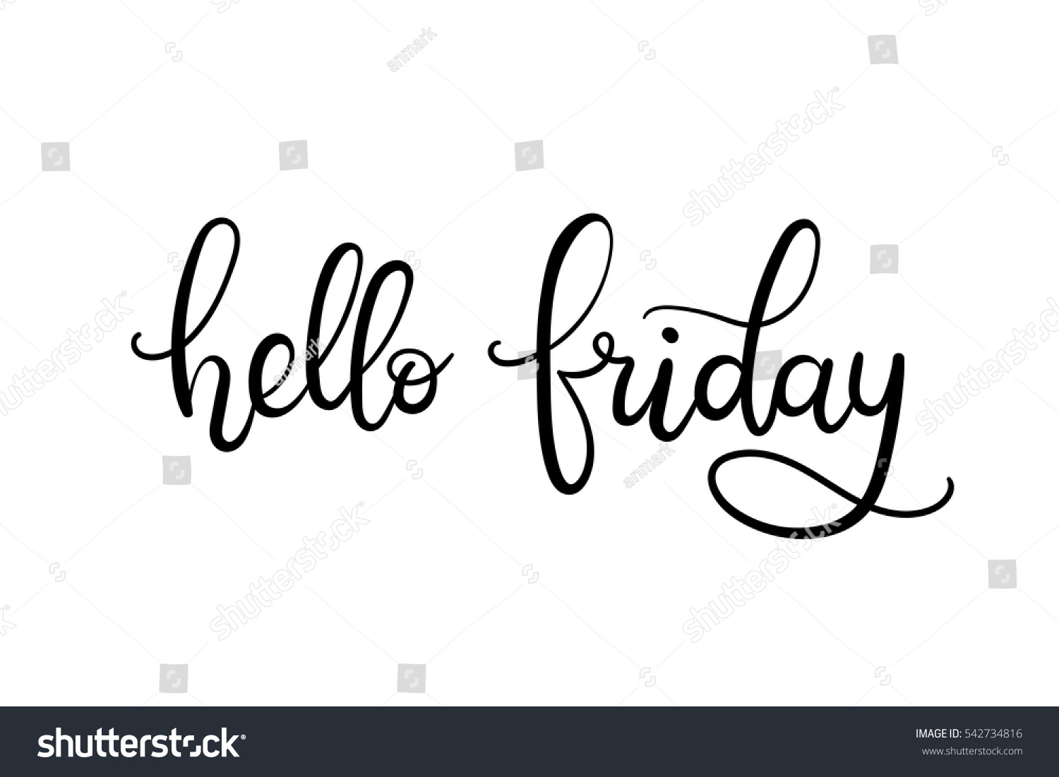 Hello friday hand lettering card modern stock vector
