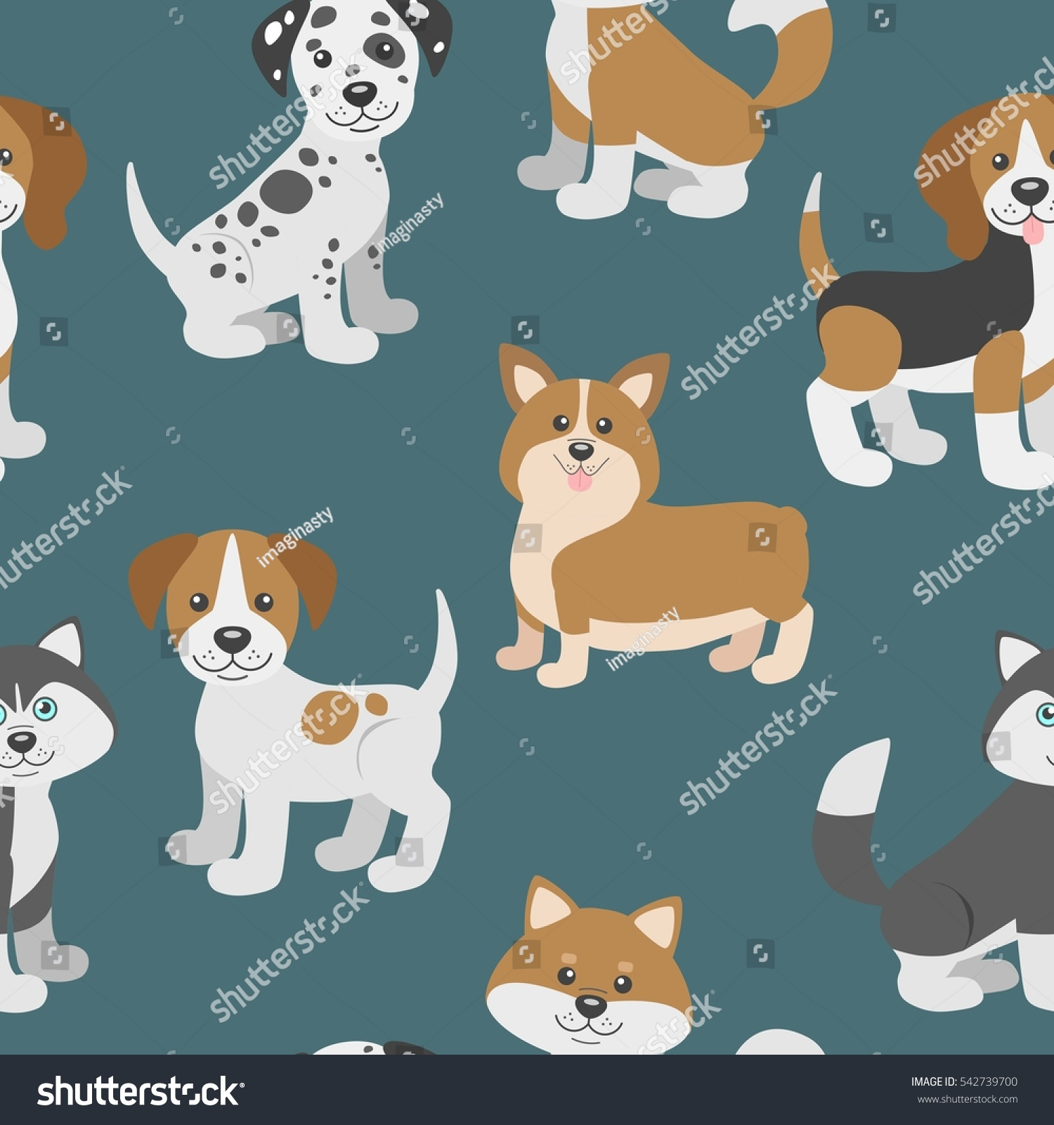 Seamless Pattern Dog Puppies Stand Sit Stock Vector 2018
