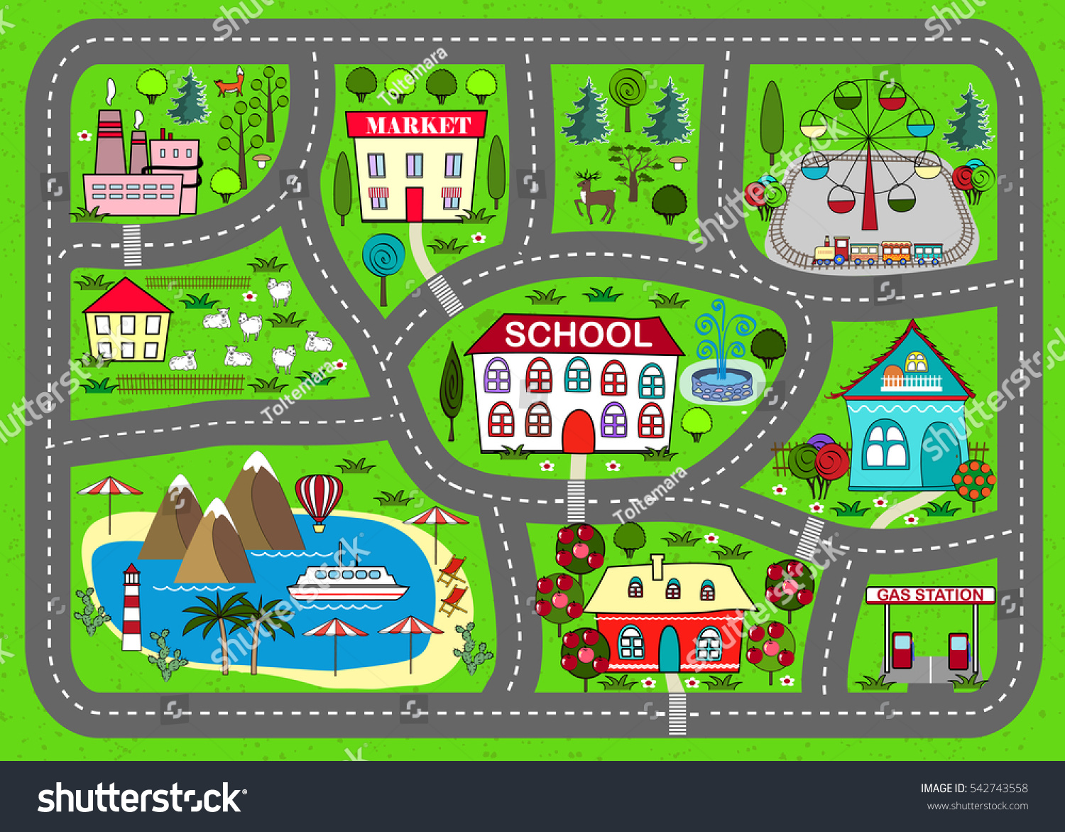 Lovely City Car Track Play Mat Stock Vector Royalty Free 542743558 Farm Music Playmat For Children Activity And Entertainment Sunny Landscape