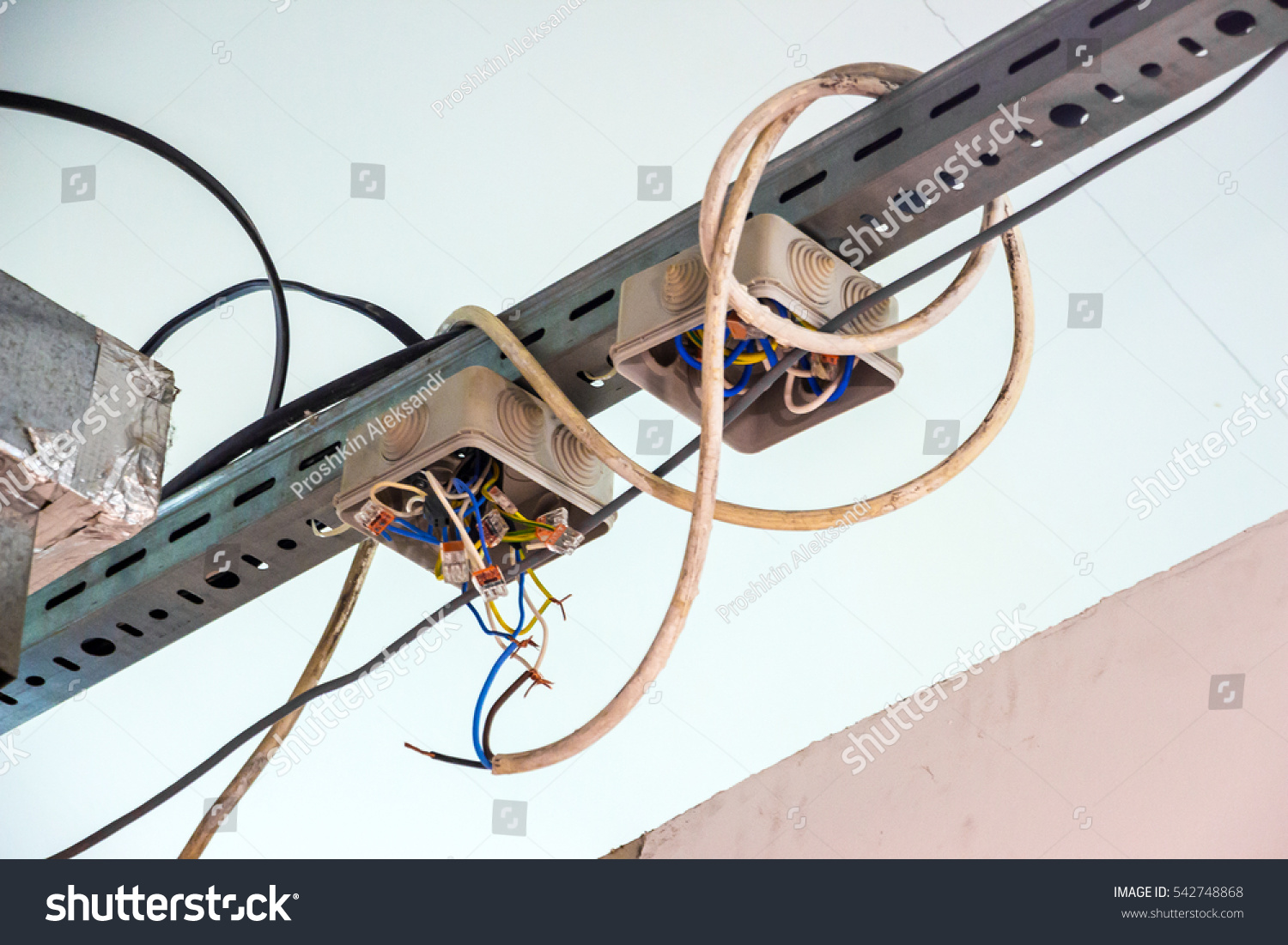 Electrical Wiring Exposed Wires Code Violation Stock Photo Edit Now Harness With