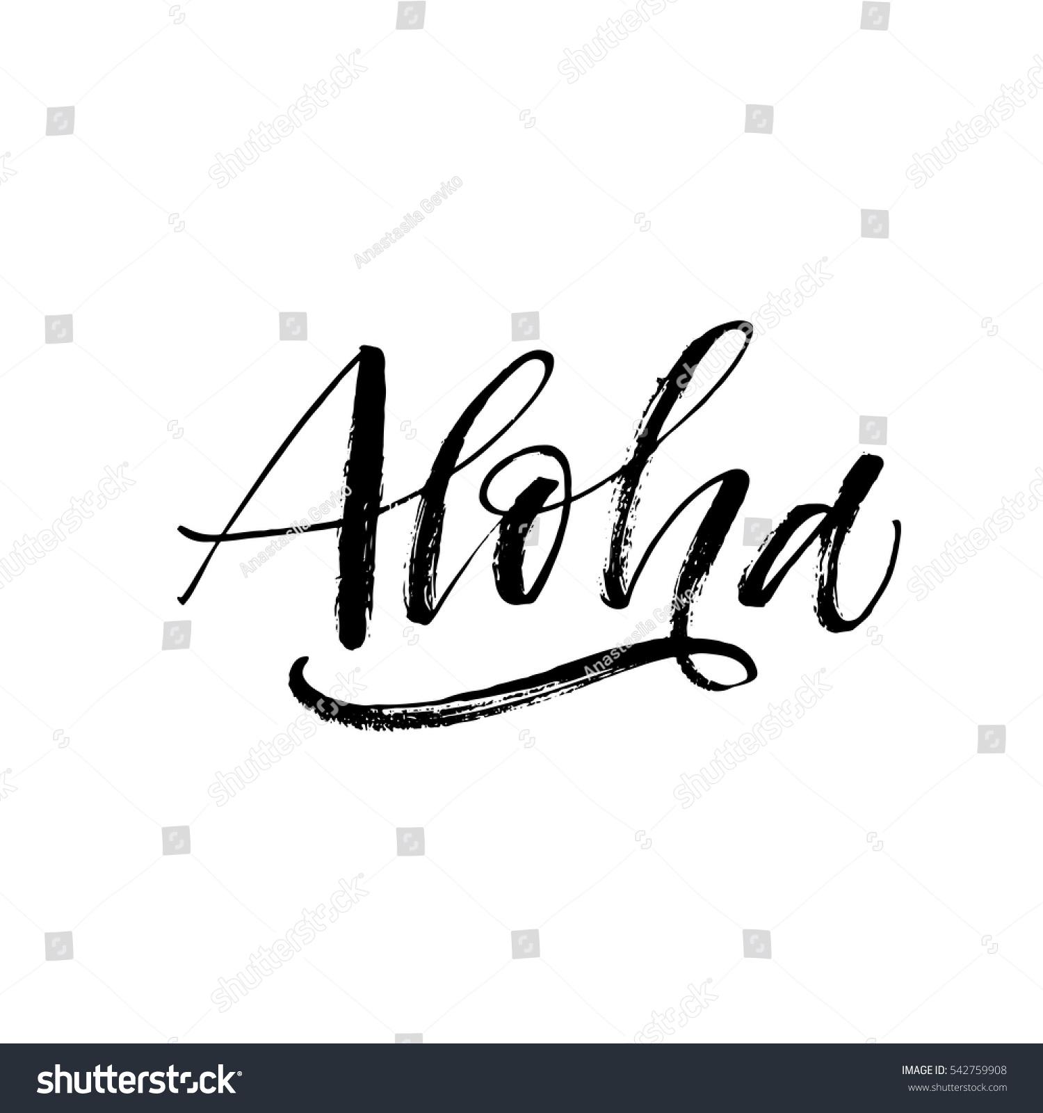Hand Drawn Aloha Lettering Hello Hawaiian Stock Vector
