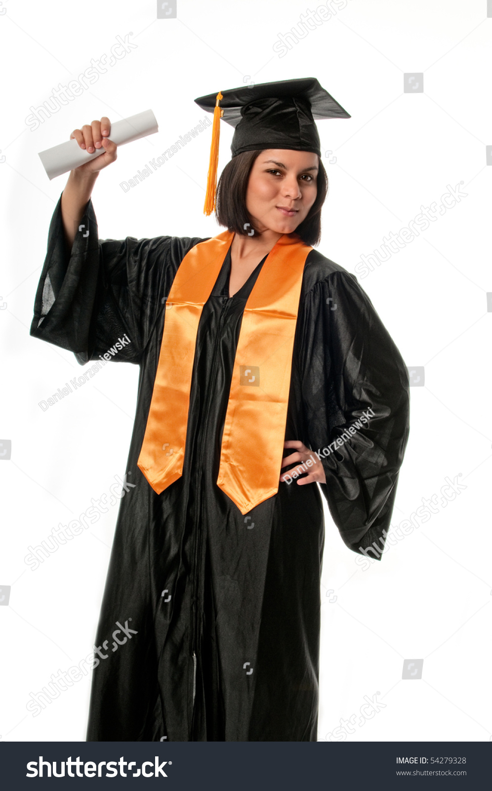 Portrait Young Girl Graduation Gown Diploma Stock Photo (Royalty ...