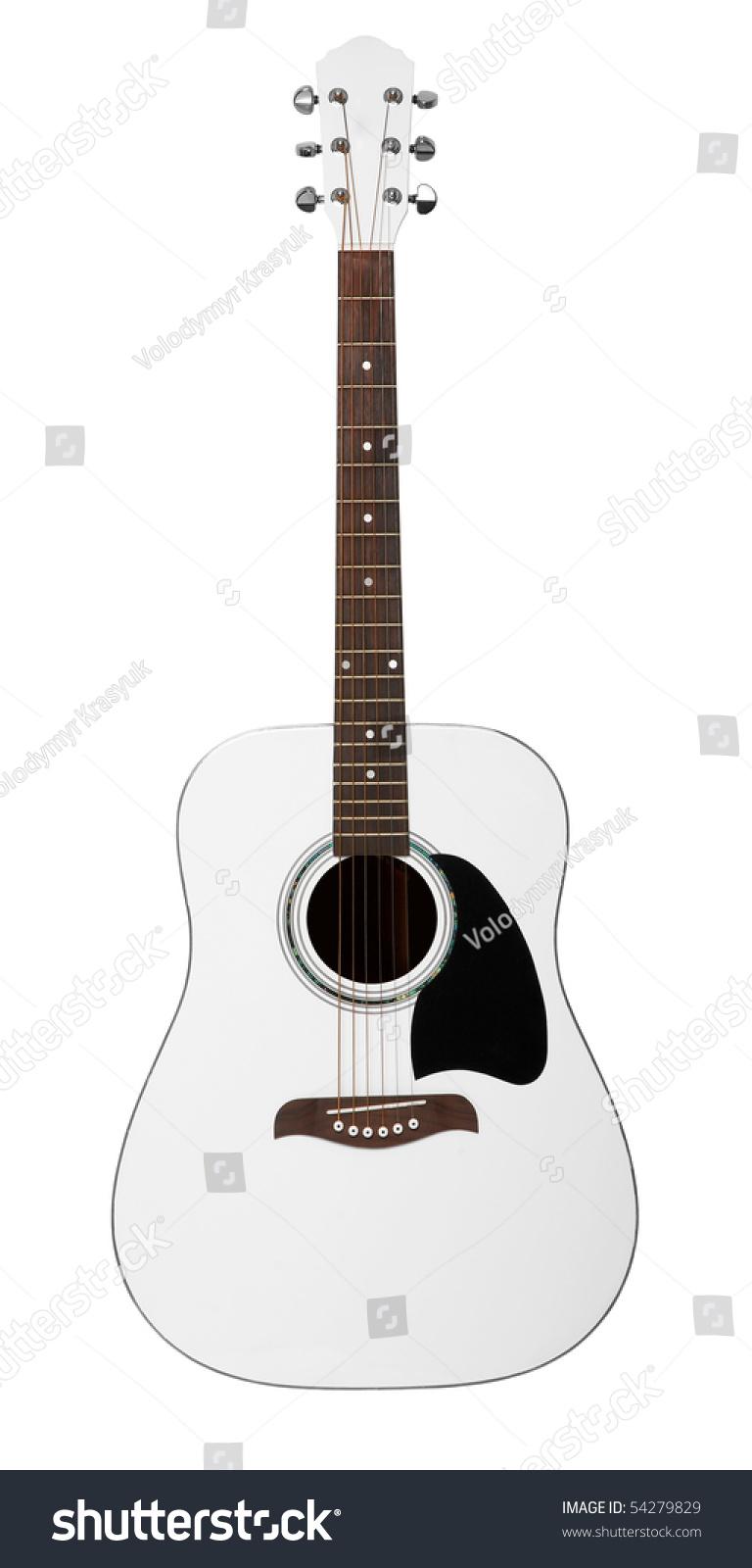 White Acoustic Guitar Isolated On White Background Ez Canvas