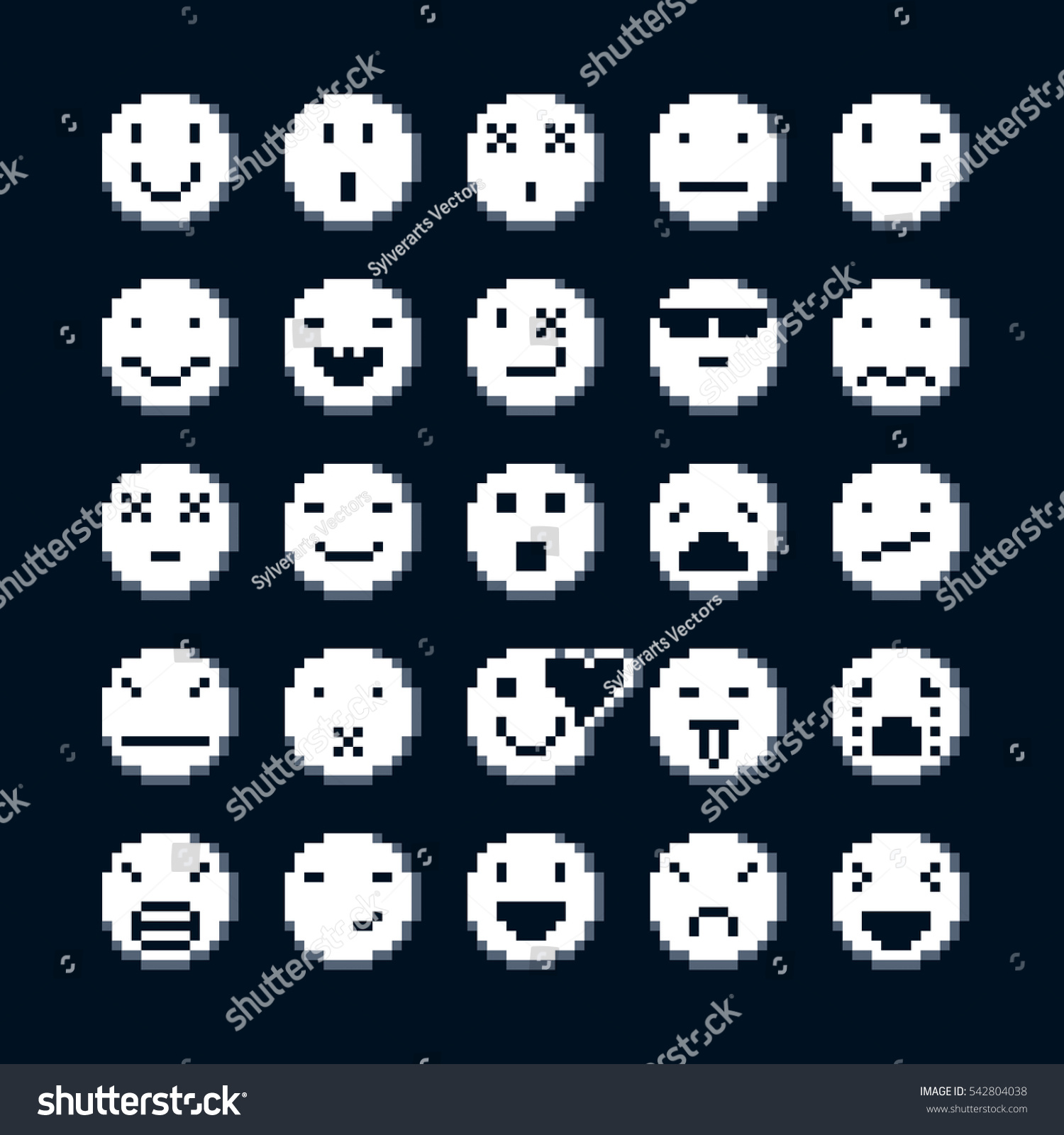 Set Retro Signs Made Pixel Art Stock Illustration Royalty Free
