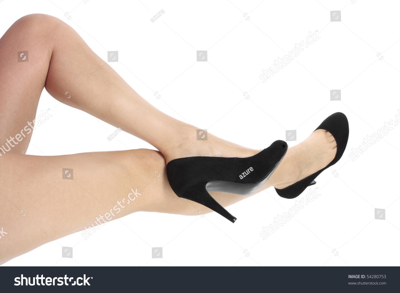 Beautiful Woman Legs Black Heel Shoes Stock