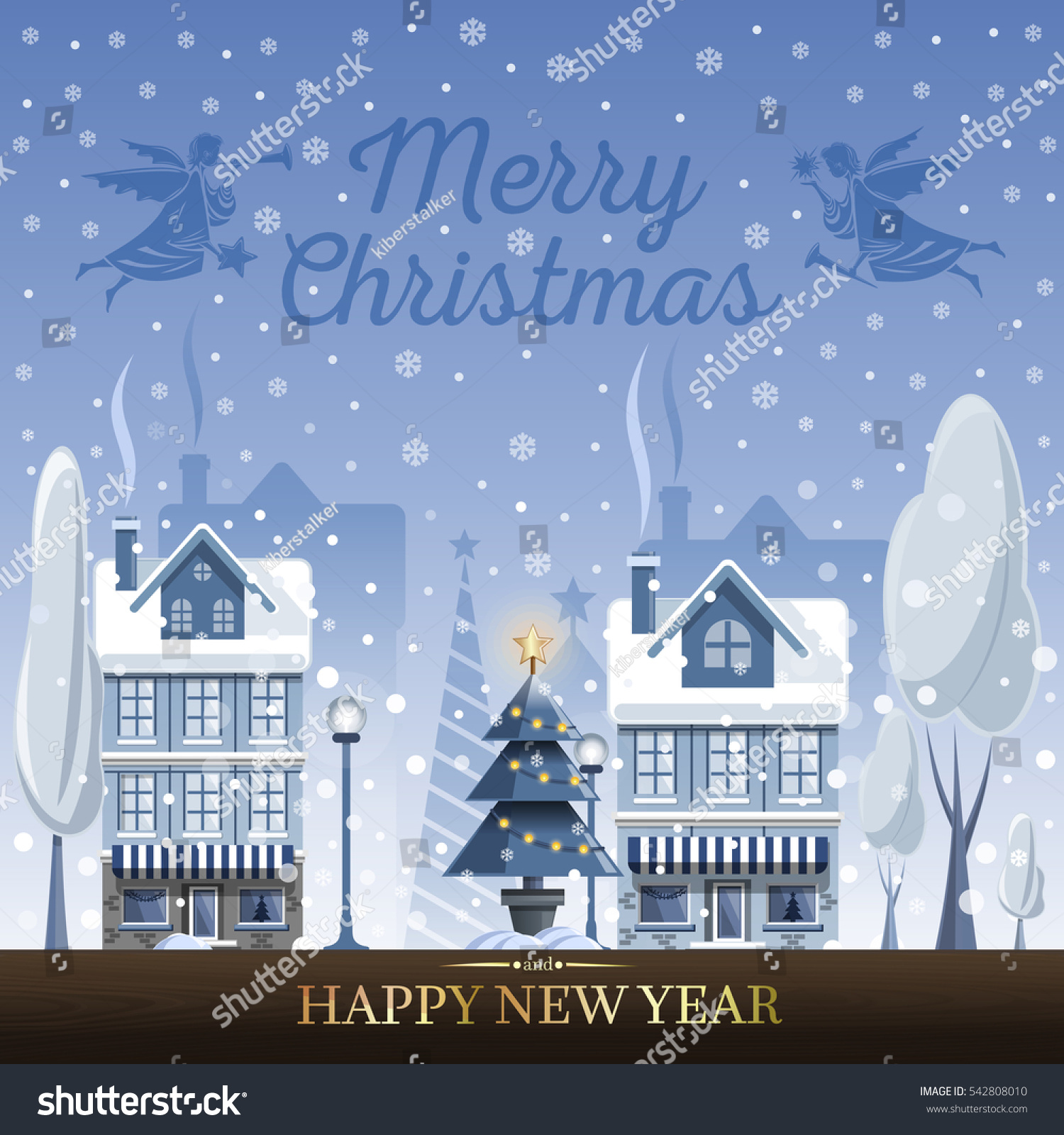 Winter Landscape Christmas Greeting Card Christmas Stock Vector