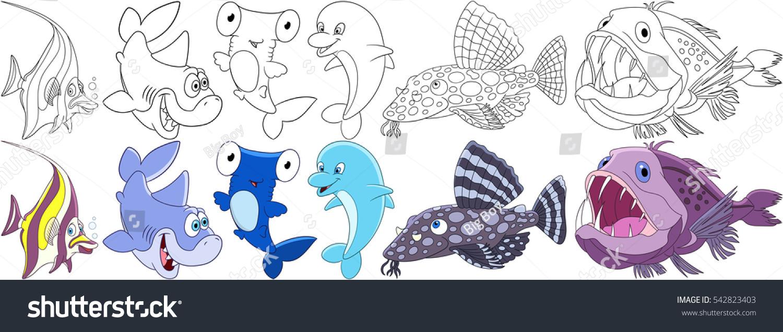 cartoon underwater animals set moorish idol stock vector 542823403