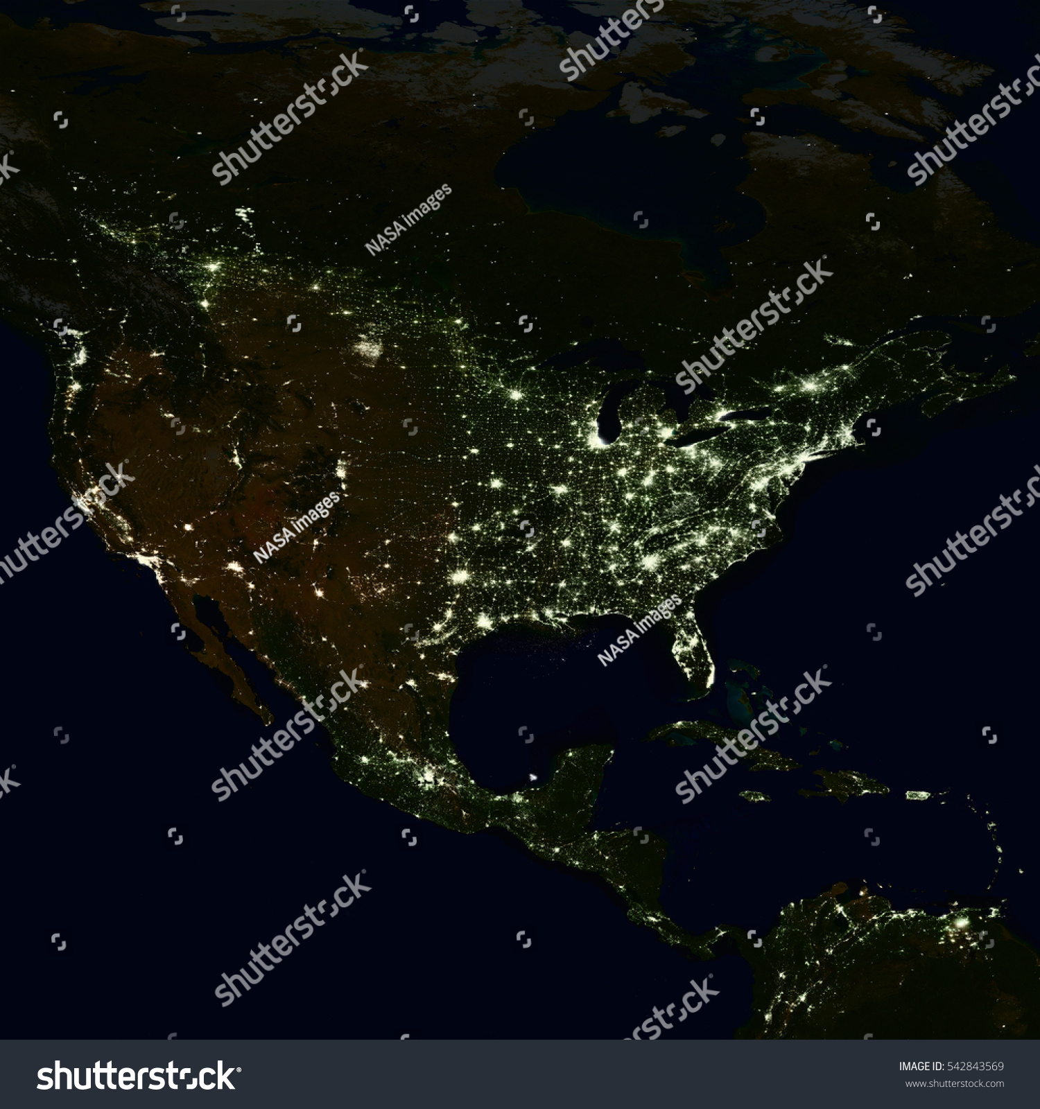 City lights on world map north stock photo 542843569 shutterstock city lights on world map north america elements of this image are furnished by gumiabroncs Choice Image