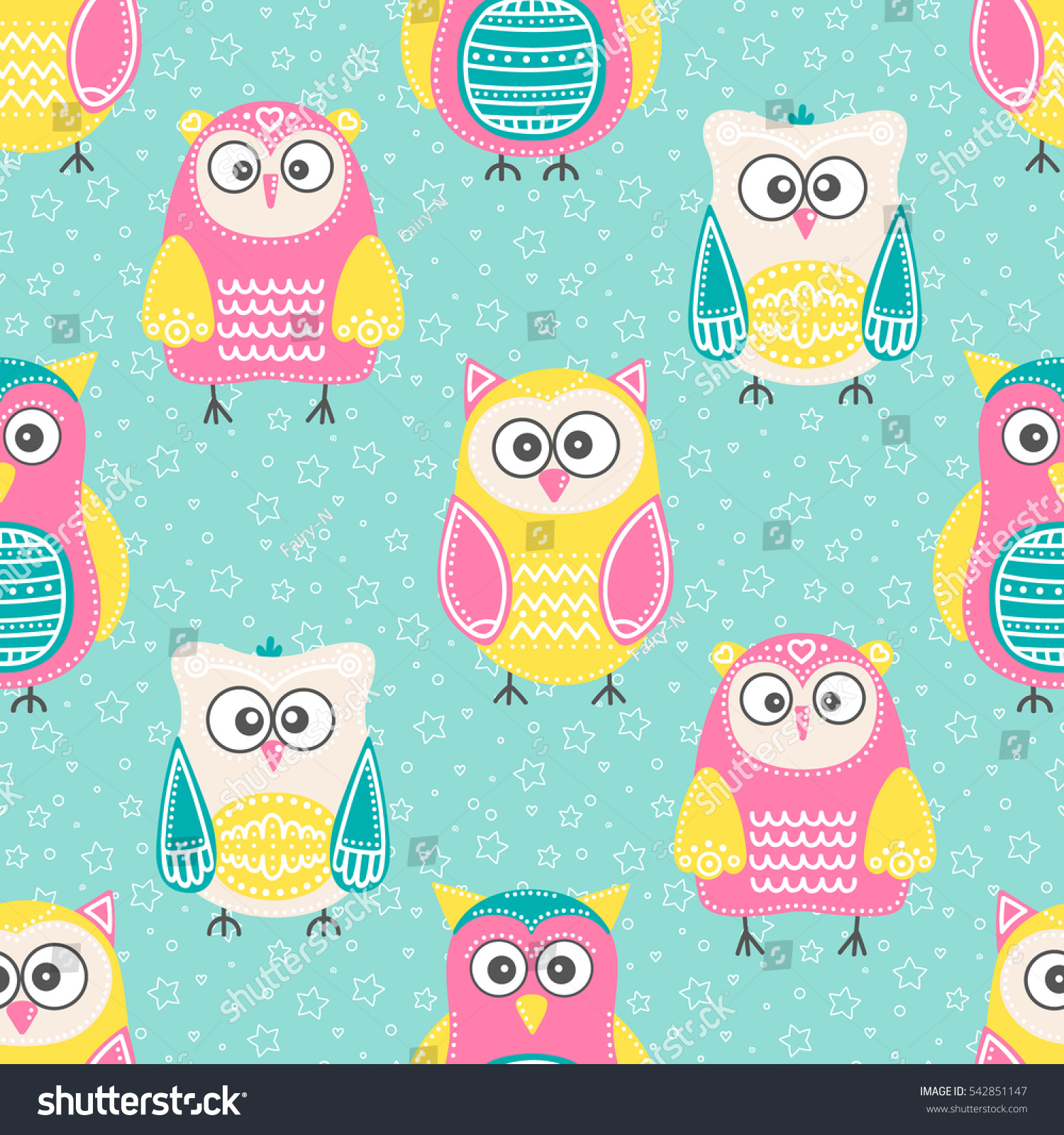 cute owls vector seamless pattern hand stock vector 542851147