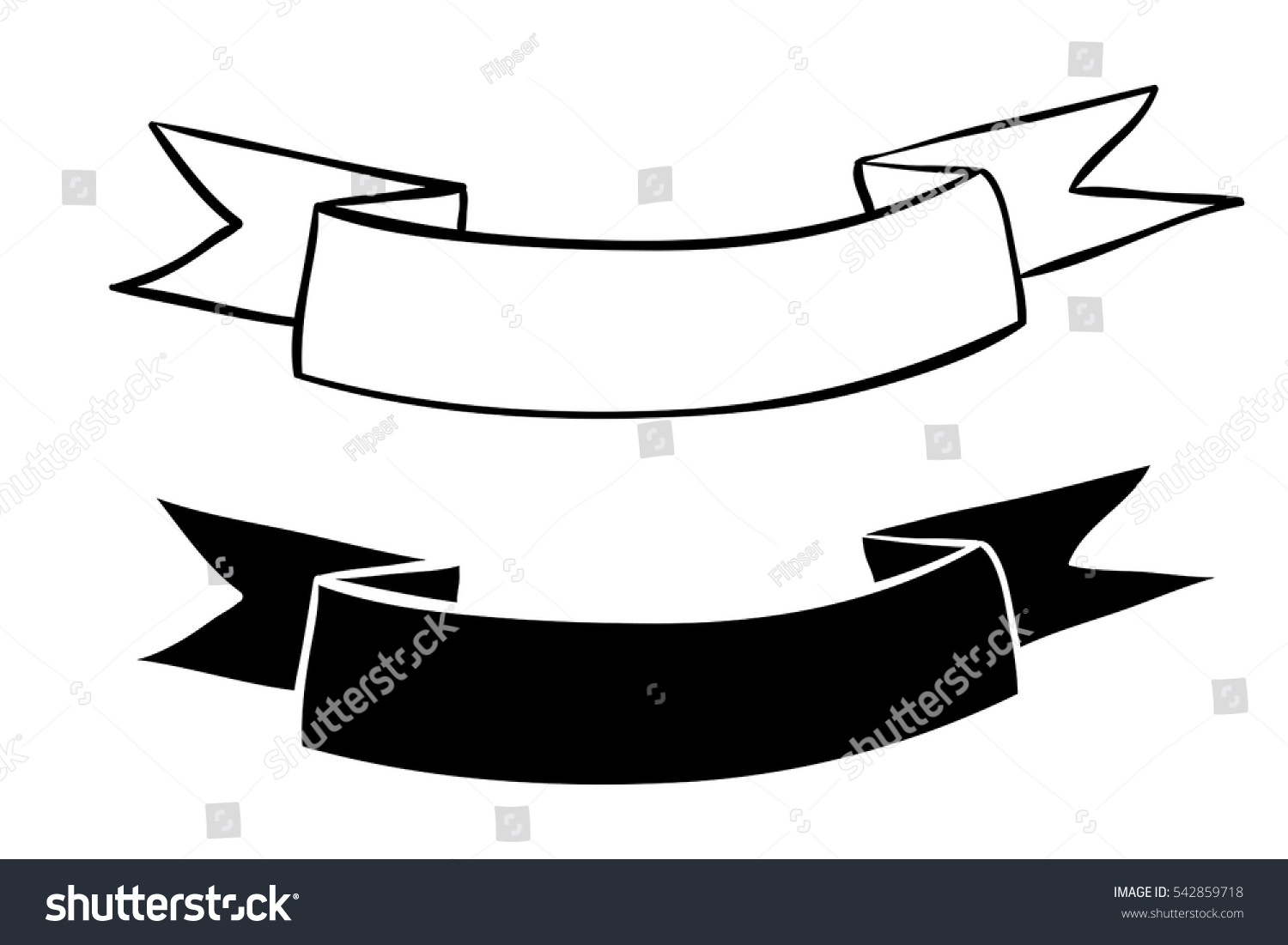 Ribbon Banners Blank White Outline Icons Stock Vector ...
