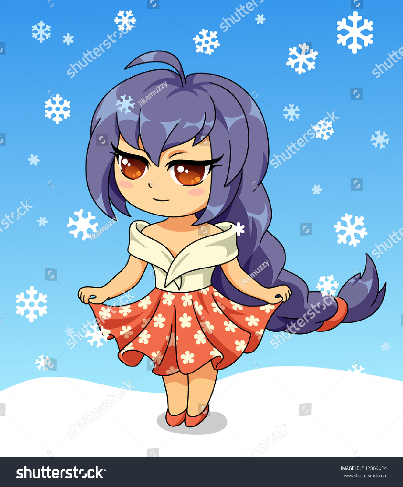 cute anime chibi little girl merry christmas and happy new year card christmas card