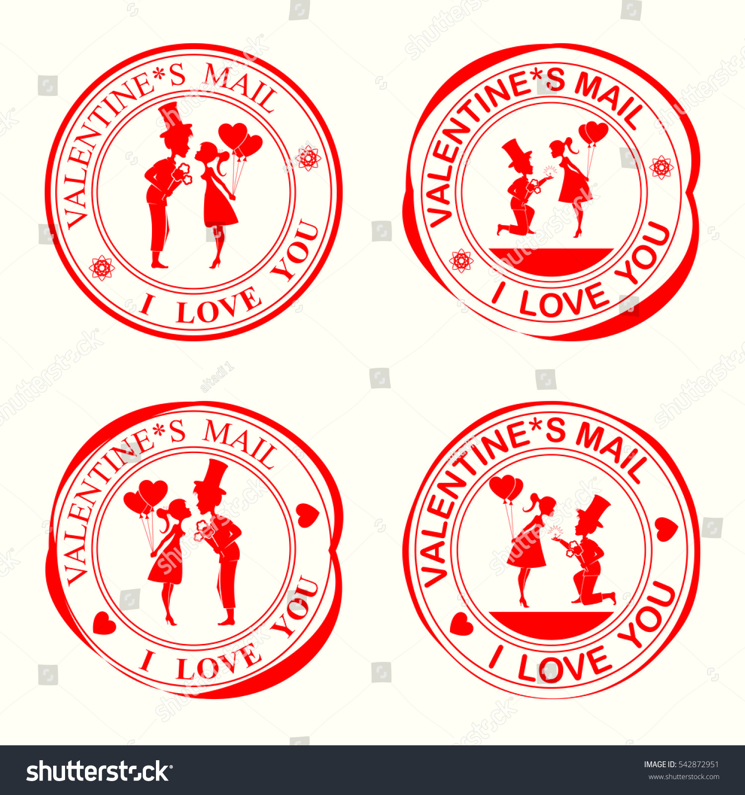 Set Stamps Silhouettes Loversthe Girl Guy Stock Vector 542872951 ...