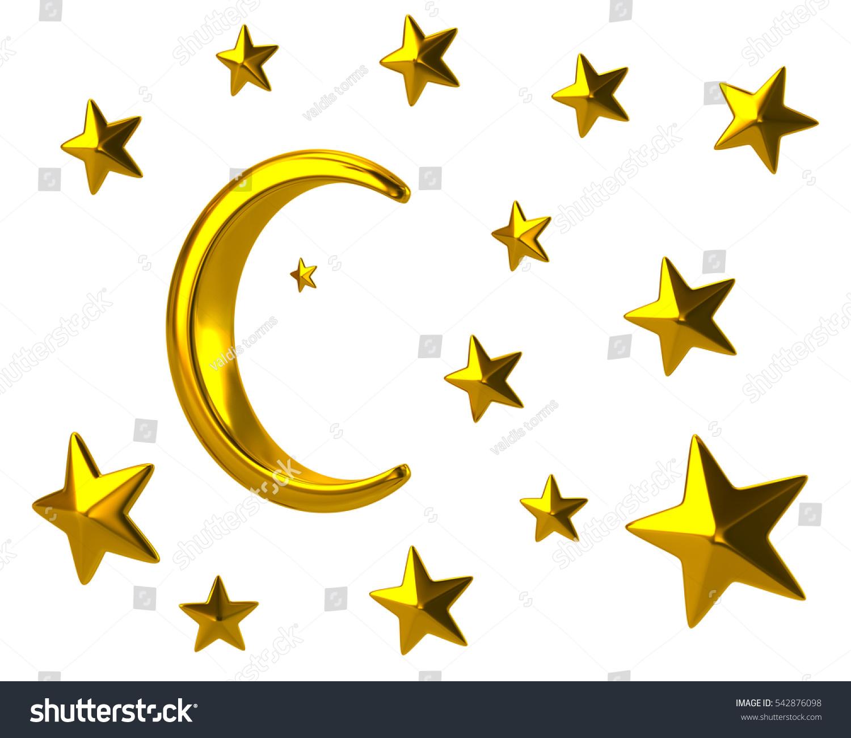 golden moon stars 3d illustration on stock illustration 542876098 rh shutterstock com Star Spray Clip Art Gold Star Clip Art Cluster