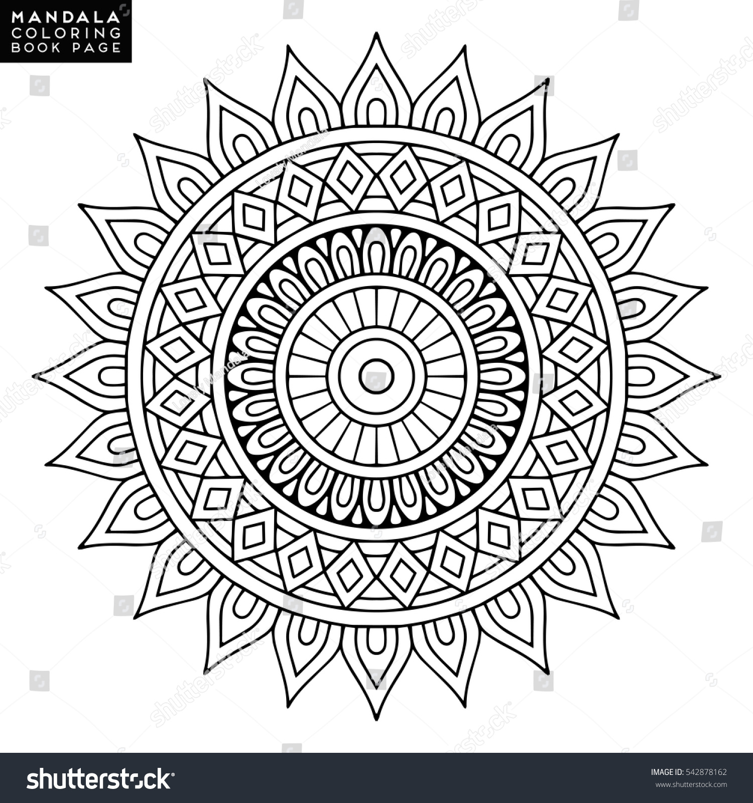 Flower Mandala Vintage Decorative Elements Oriental Image Vectorielle 542878162