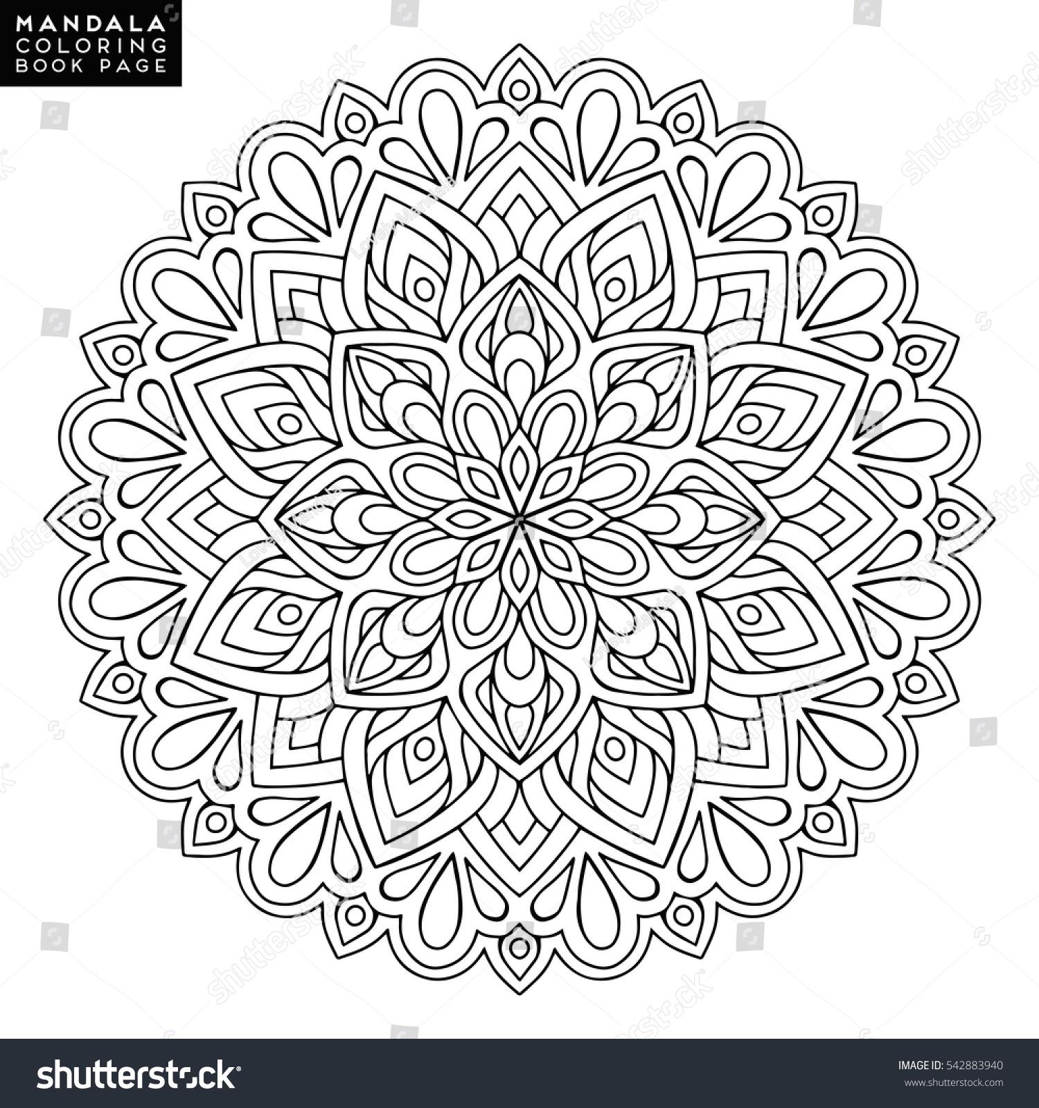 Black Outline Flower Mandala Vintage Decorative Element Ornamental