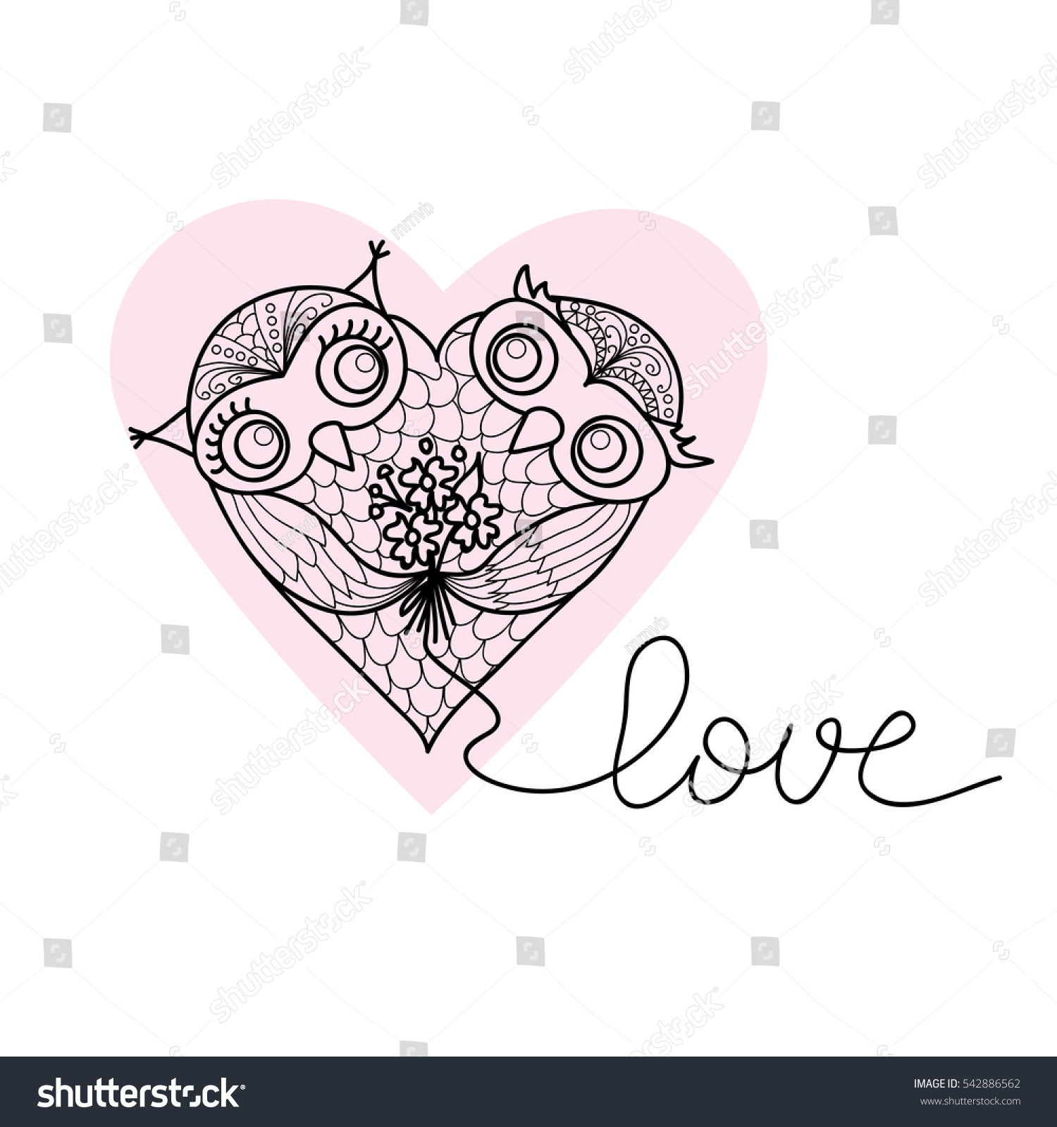 two cute owls shape heart handdrawn stock vector royalty free