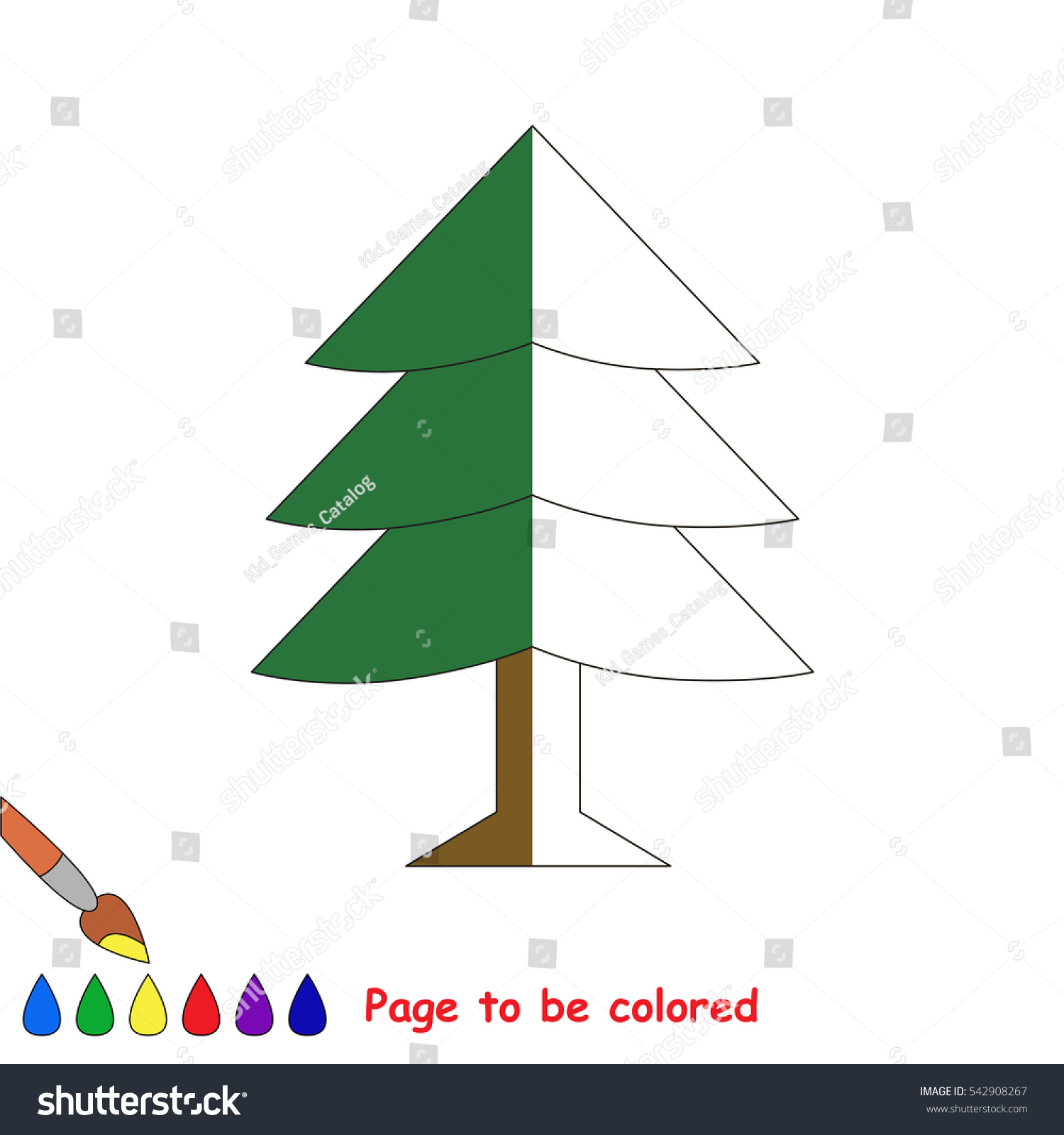 Fur Tree Be Colored Coloring Book Stock Vector 542908267 - Shutterstock