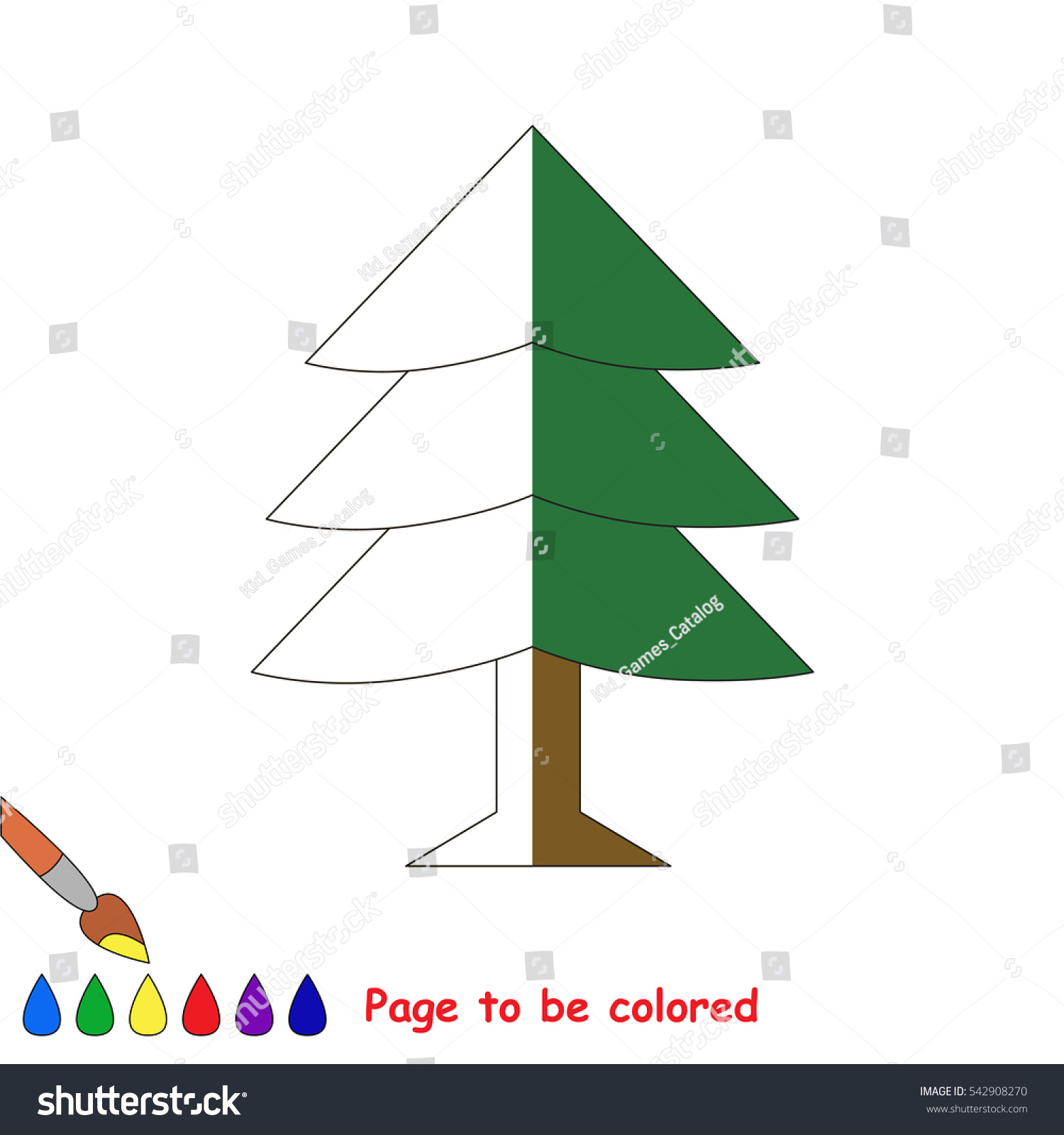 Fur Tree Be Colored Coloring Book Stock Vector 542908270 - Shutterstock