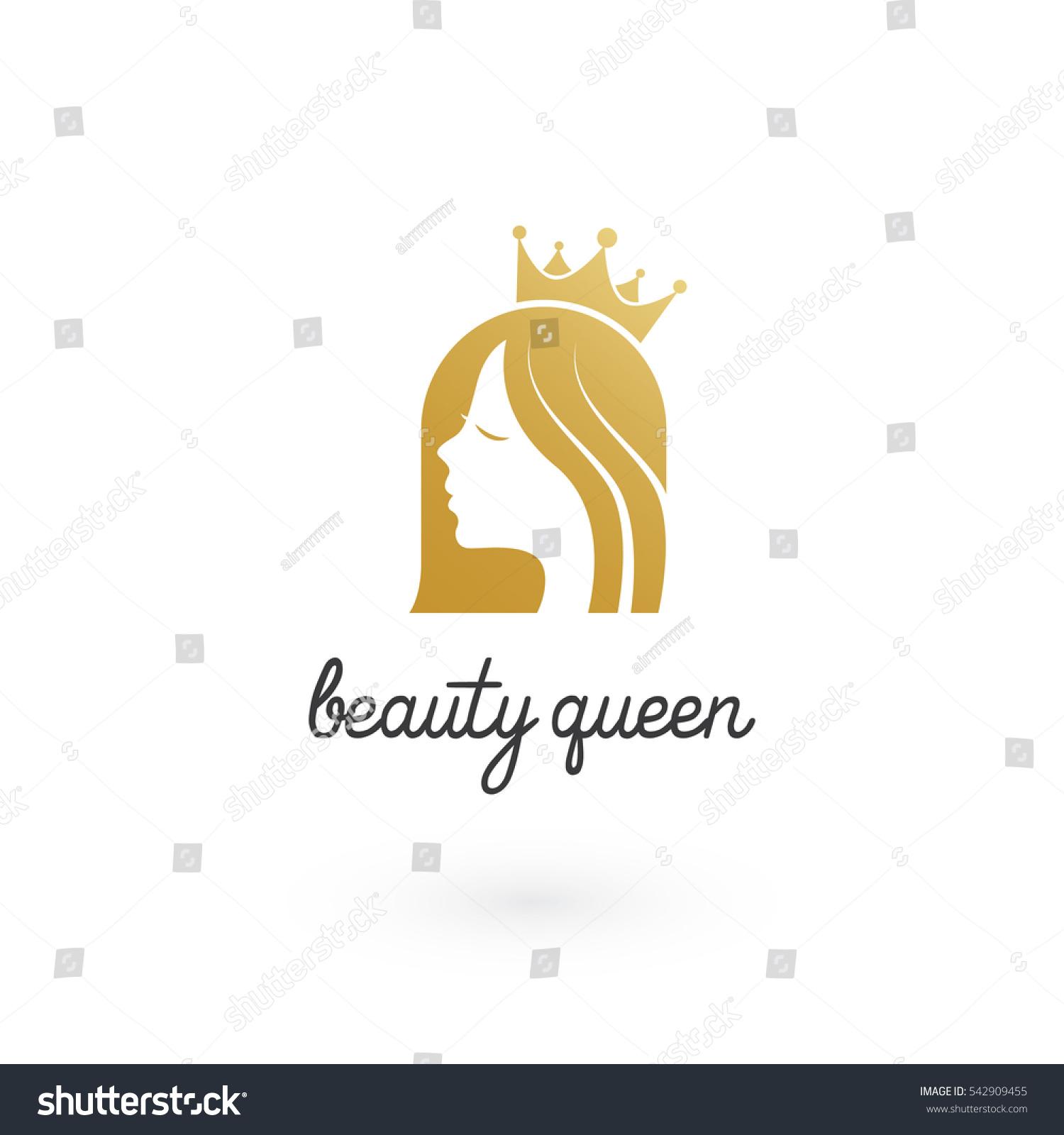 golden beauty queen crown logo stock vector 542909455