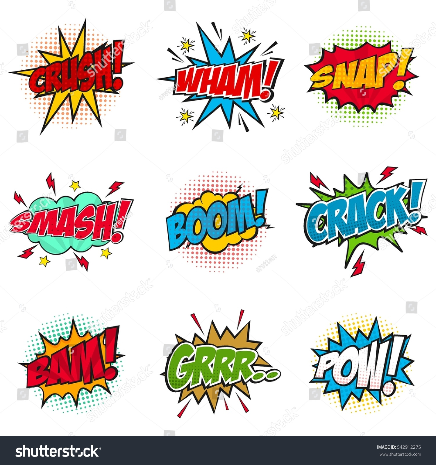 Set Of Comic Text Pop Art StyleCartoon Sound Effect
