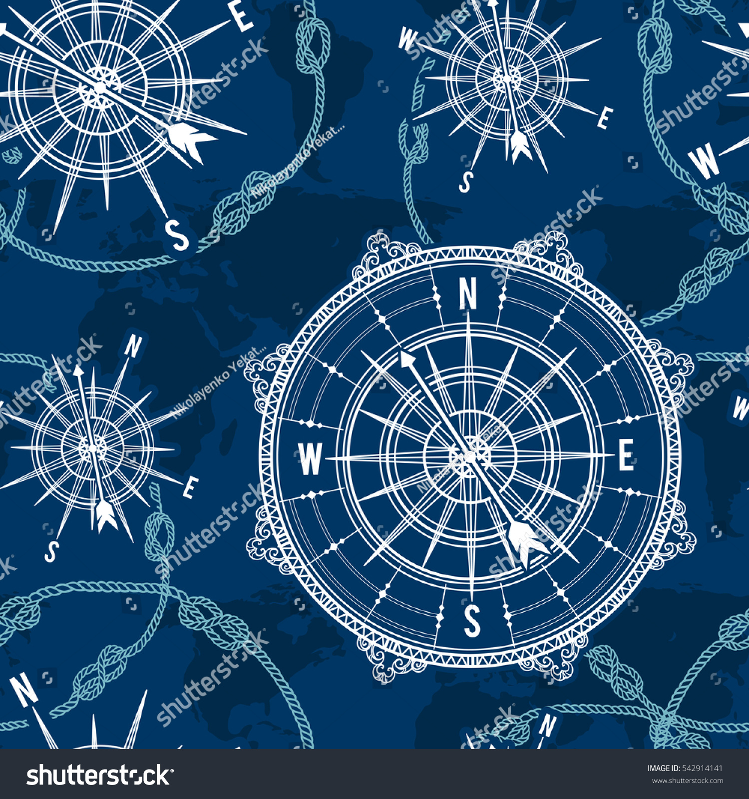 Seamless pattern vintage compass world map vectores en stock seamless pattern with vintage compass world map wind rose and rope knot nautical gumiabroncs Images