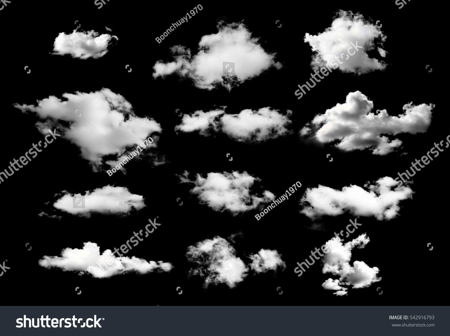collection of white clouds isolated on black background #542916793 - 123PhotoFree.com