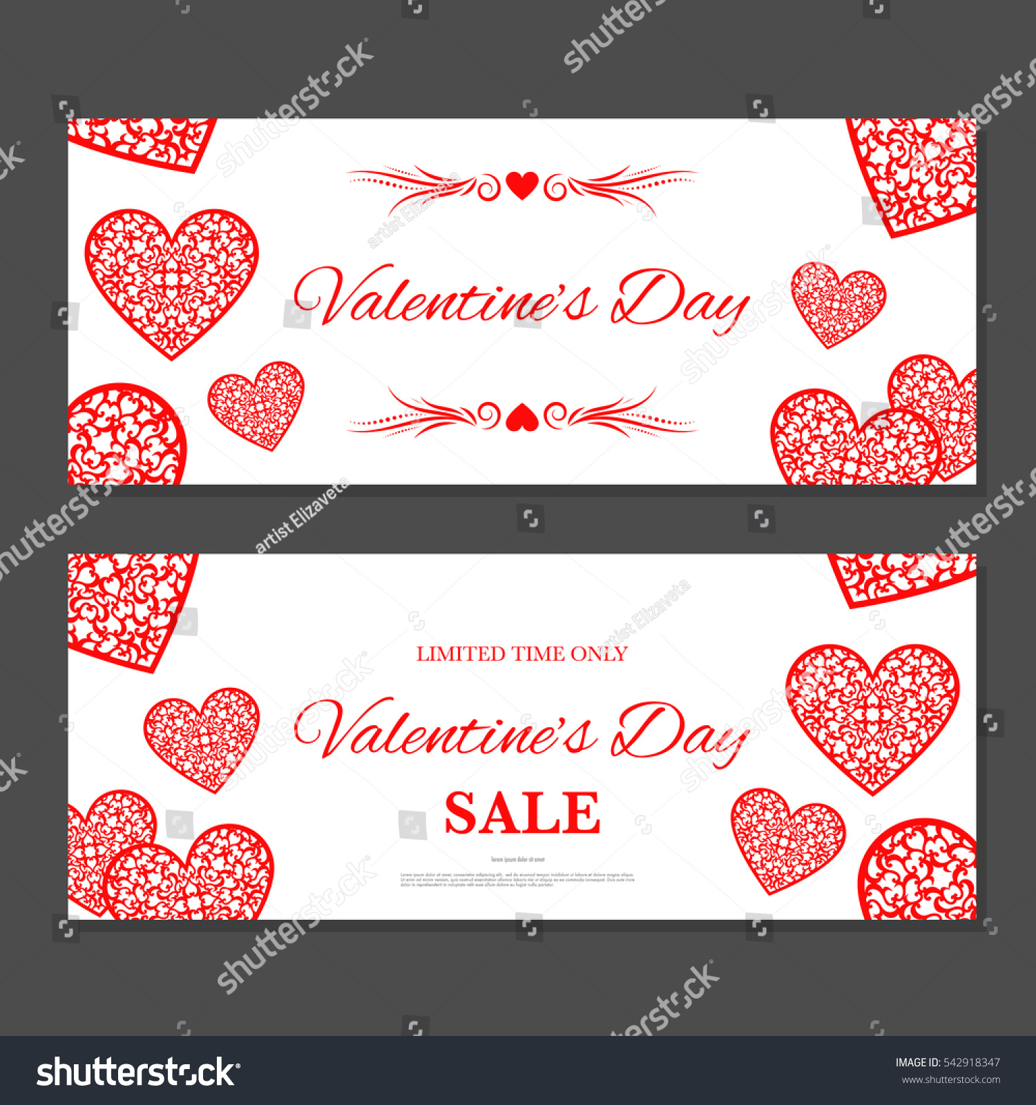 Valentines day gift coupon gift voucher stock vector 542918347 valentines day gift coupon gift voucher template with red hearts two side of discount 1betcityfo Image collections
