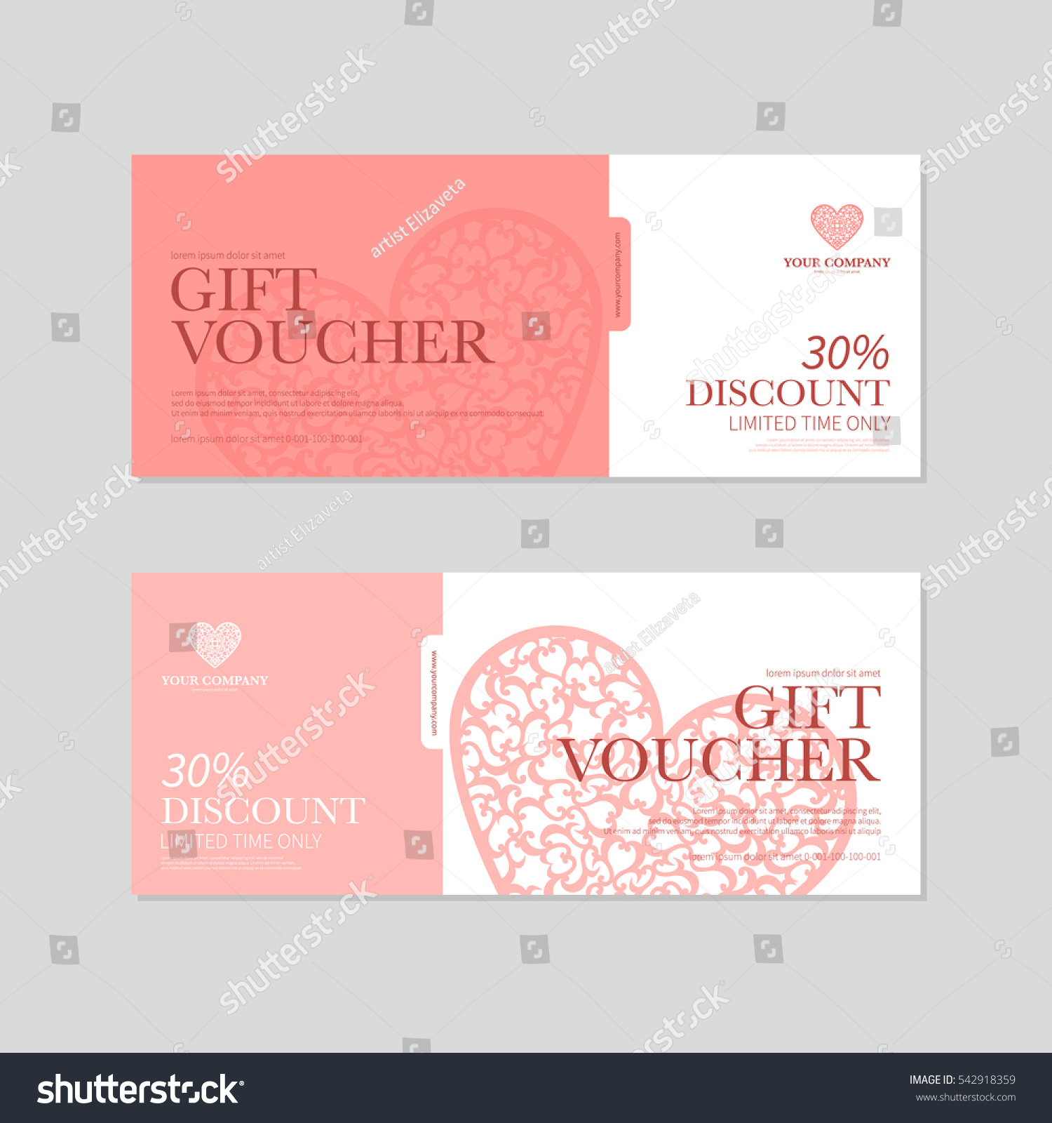Valentines day gift coupon gift voucher stock vector 542918359 valentines day gift coupon gift voucher template with red hearts valentines day discount voucher 1betcityfo Image collections