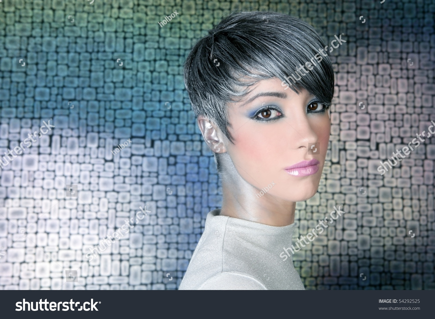 Silver Futuristic Hairstyle Makeup Portrait Future People Stock Image 54292525