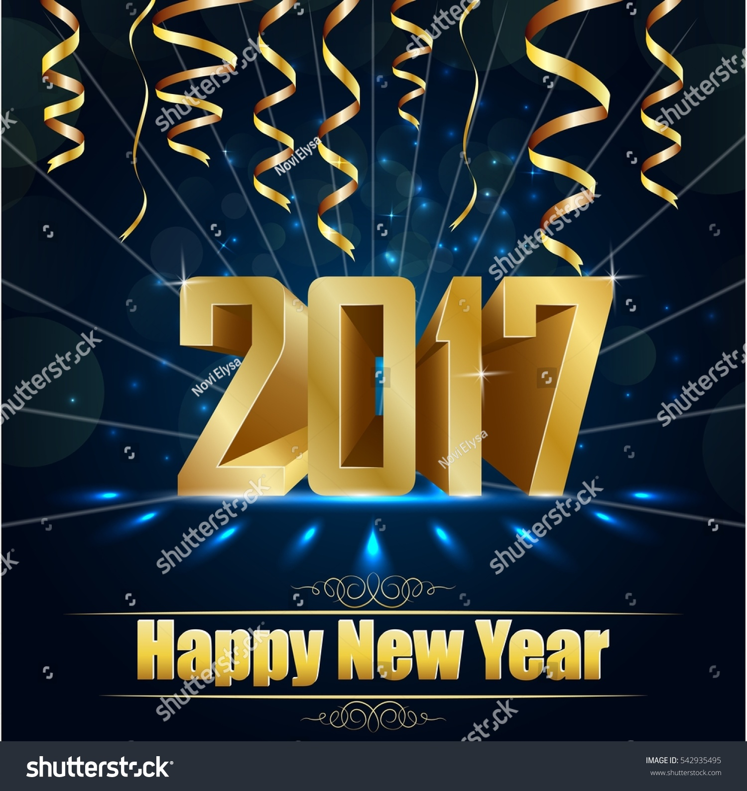 Happy new year for 2017 background with golden confetti #542935495