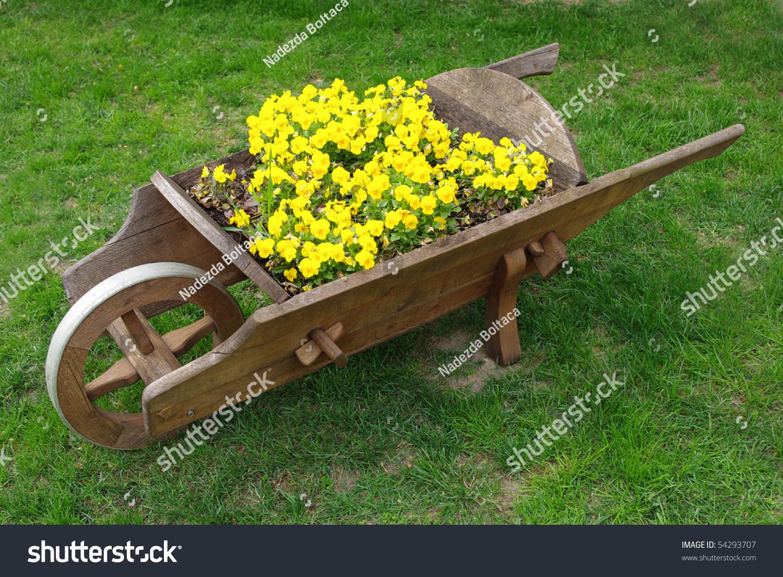 Decorative Wooden Wheelbarrow Yellow Pansies Stock Photo (Royalty ...
