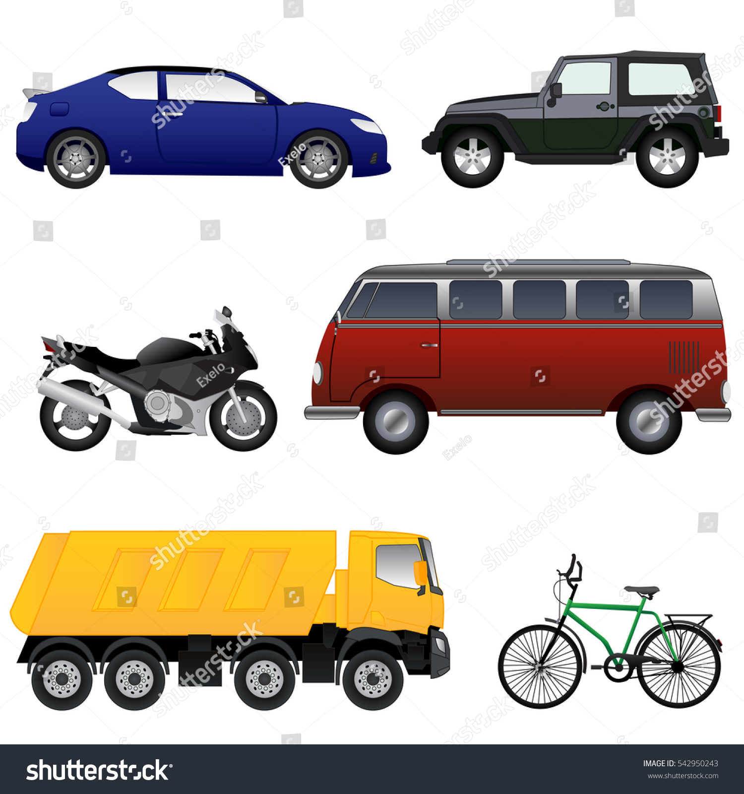 Vector Vehicle Collection Game Other Use Stock Vector 542950243 ...