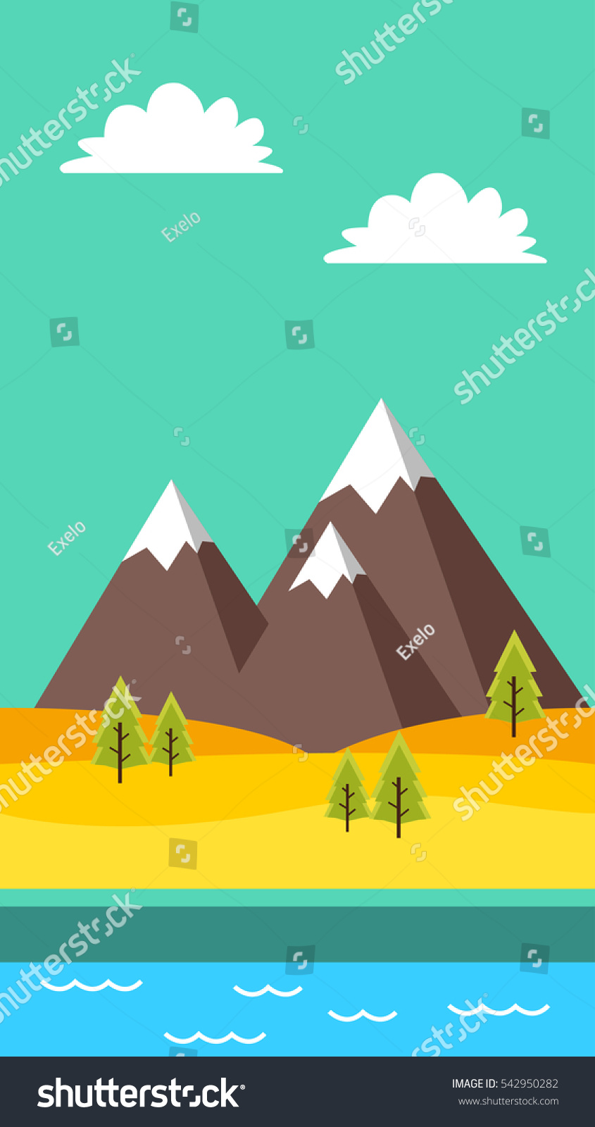 Portrait Background Games App Mountain River Stock Vector