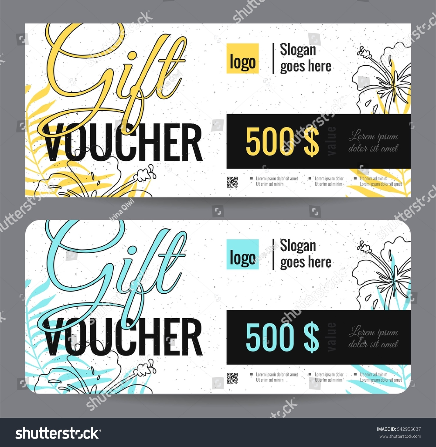 elegant gift certificate template with floral background shopping concept