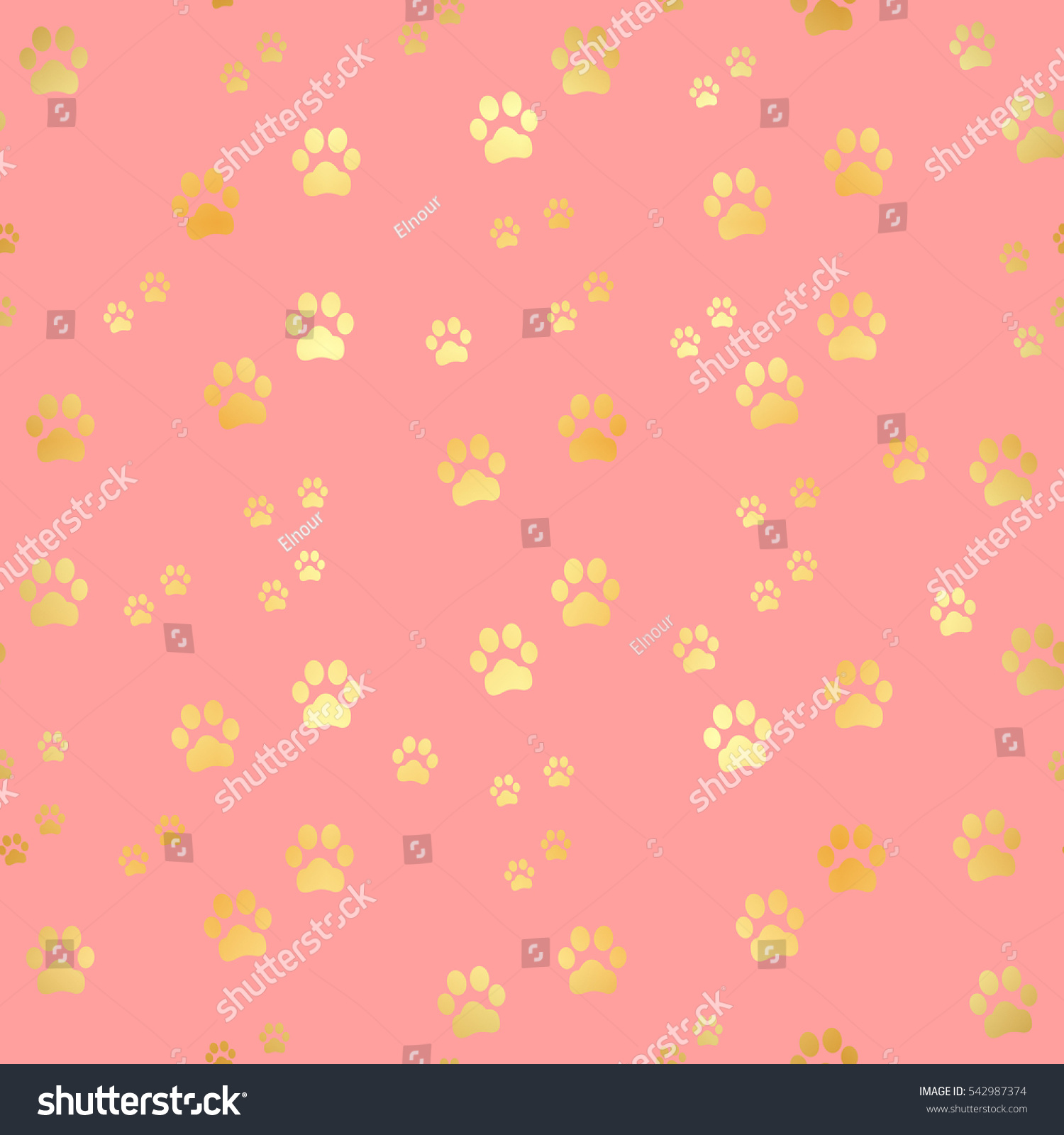 Gold Paw Print Seamless Pattern Stock Illustration Dog Trail Background