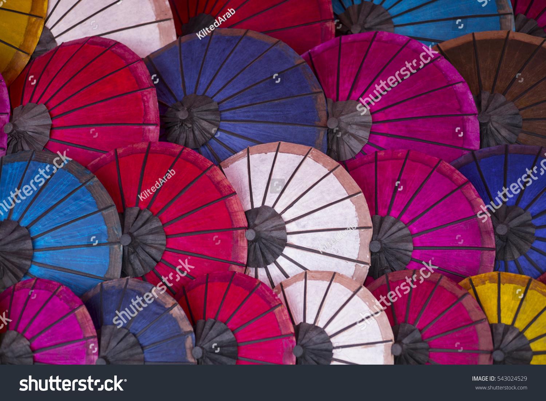 Brightly Coloured Parasols Umbrellas Sale Luang Stock Photo Edit