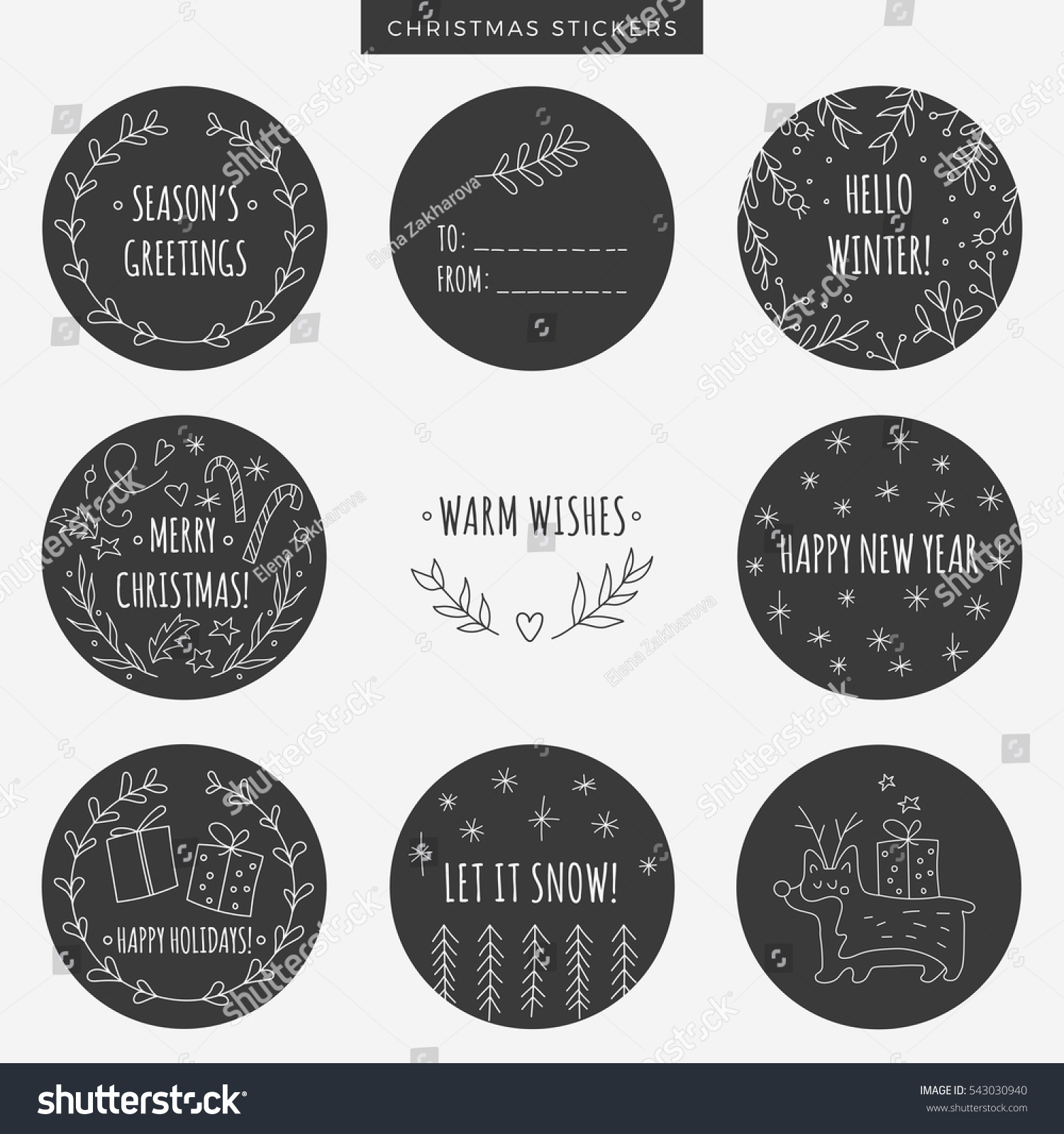 Set Round Chalkboard Christmas Labels Stickers Stock ...