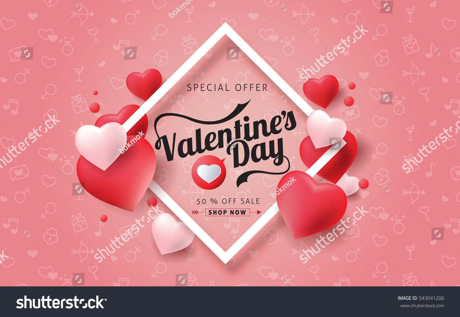 Valentines day sale background with balloons heart. Vector illustration. Wallpaper.flyers, invitation, posters, brochure, banners. #543041206