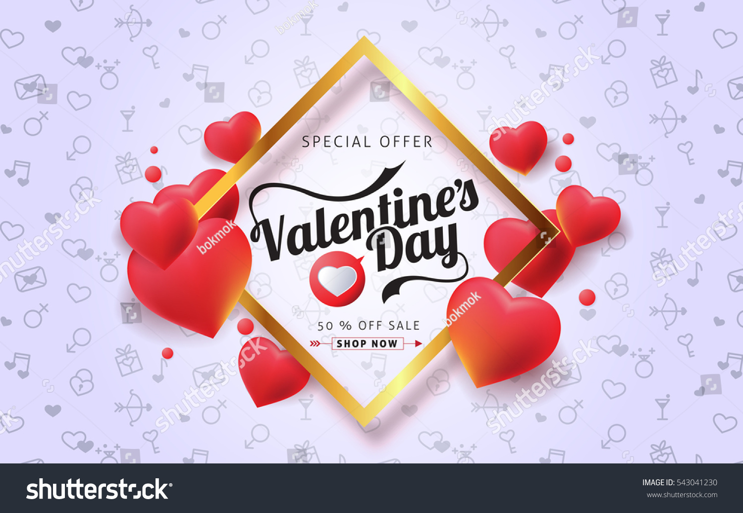 valentines day sale background balloons heart stock vector royalty